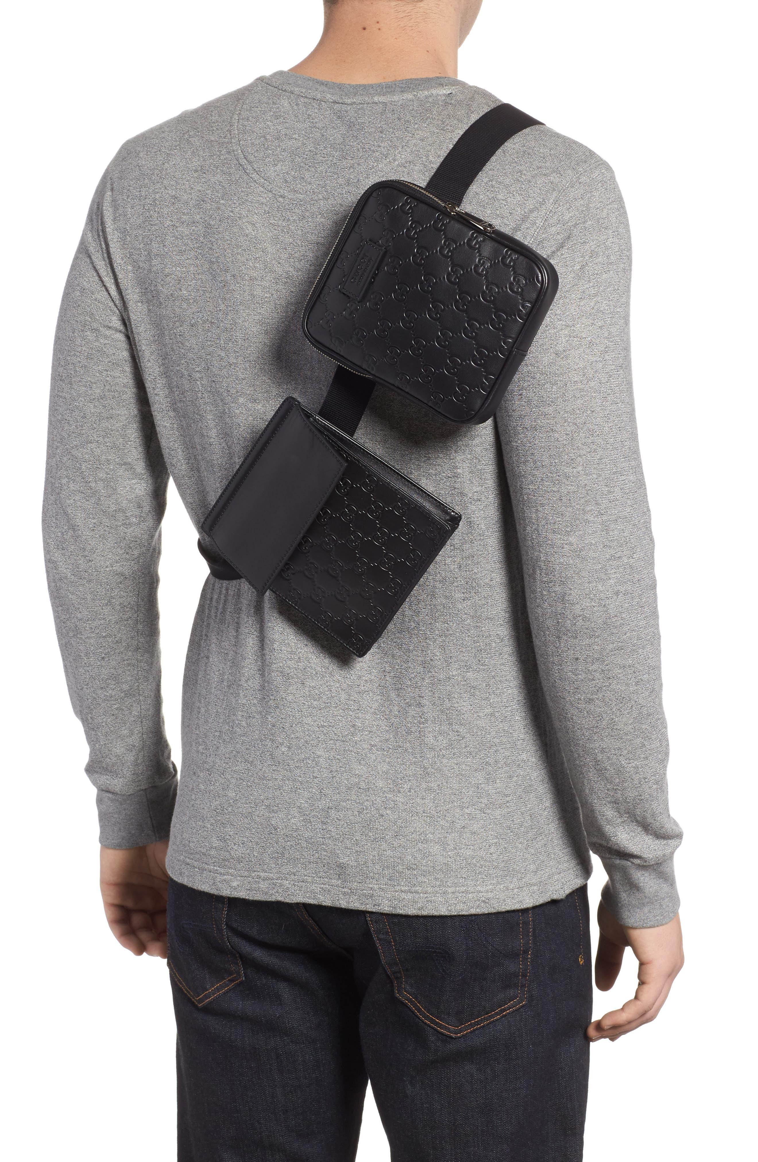 Leather Belt Bag,                             Alternate thumbnail 2, color,                             Black
