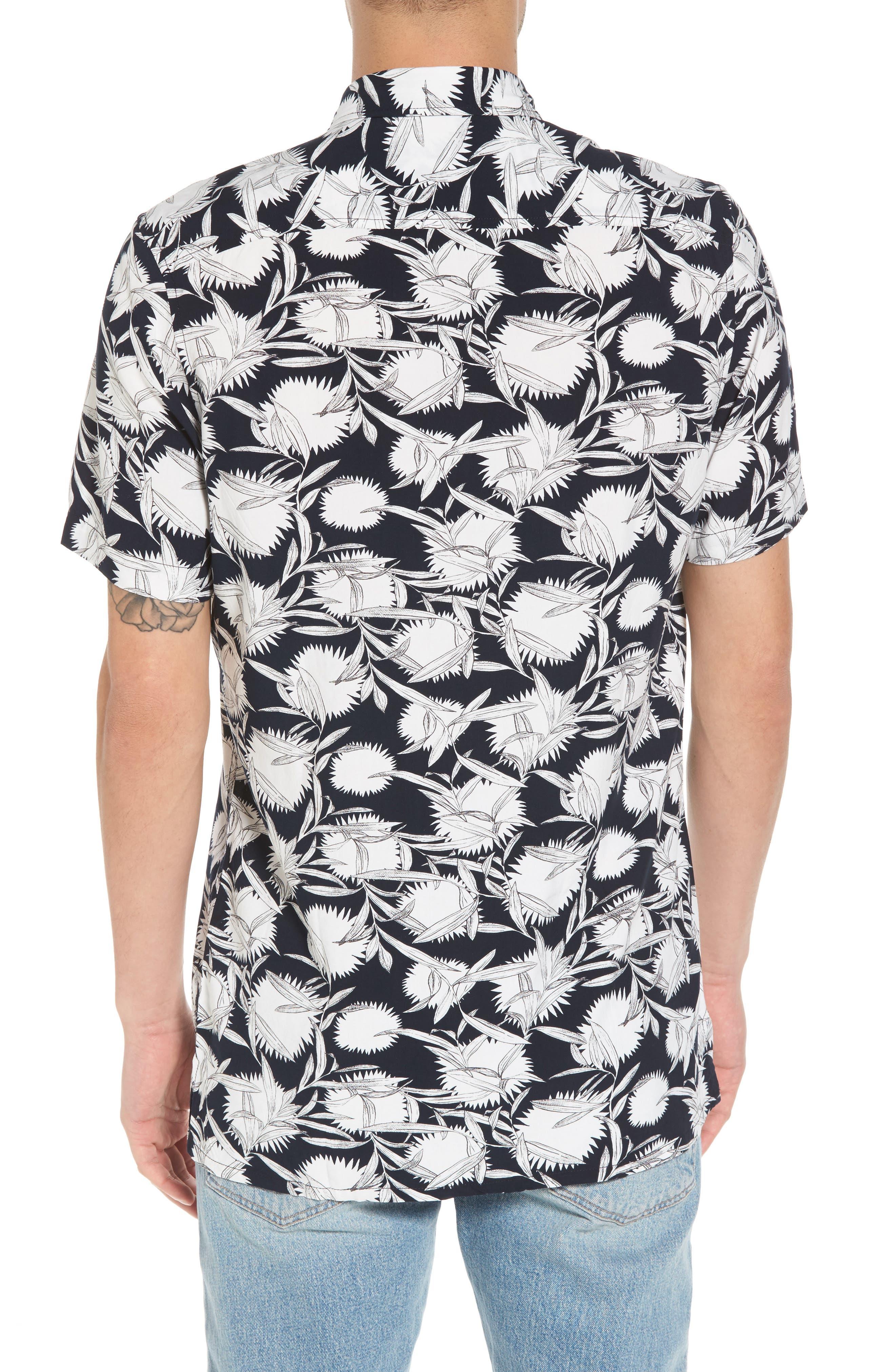 Print Woven Shirt,                             Alternate thumbnail 2, color,                             Black White Flower Leaf