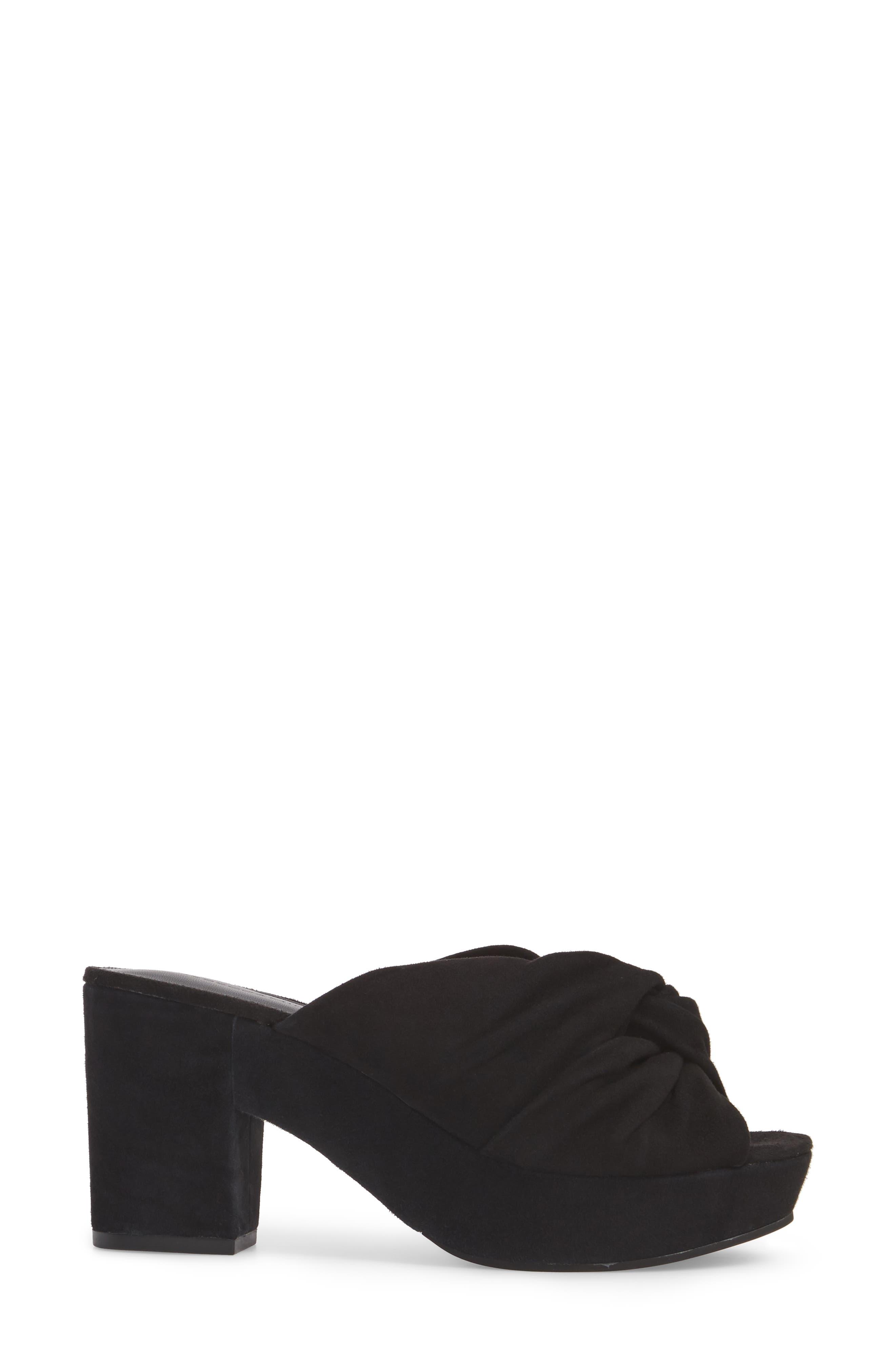 Jaden Slide Sandal,                             Alternate thumbnail 3, color,                             Black Satin