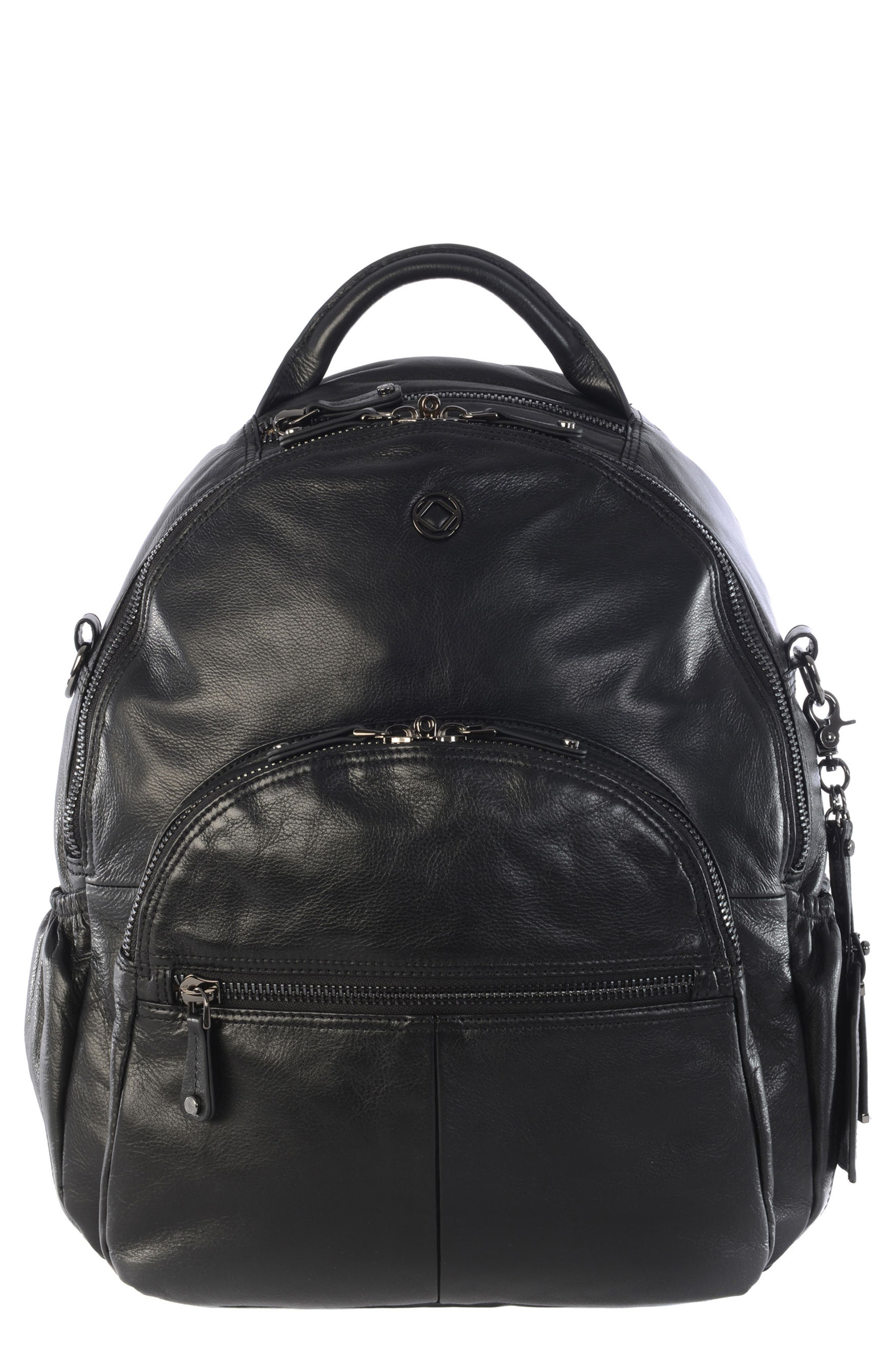 Joy XL Leather Backpack,                         Main,                         color, Black