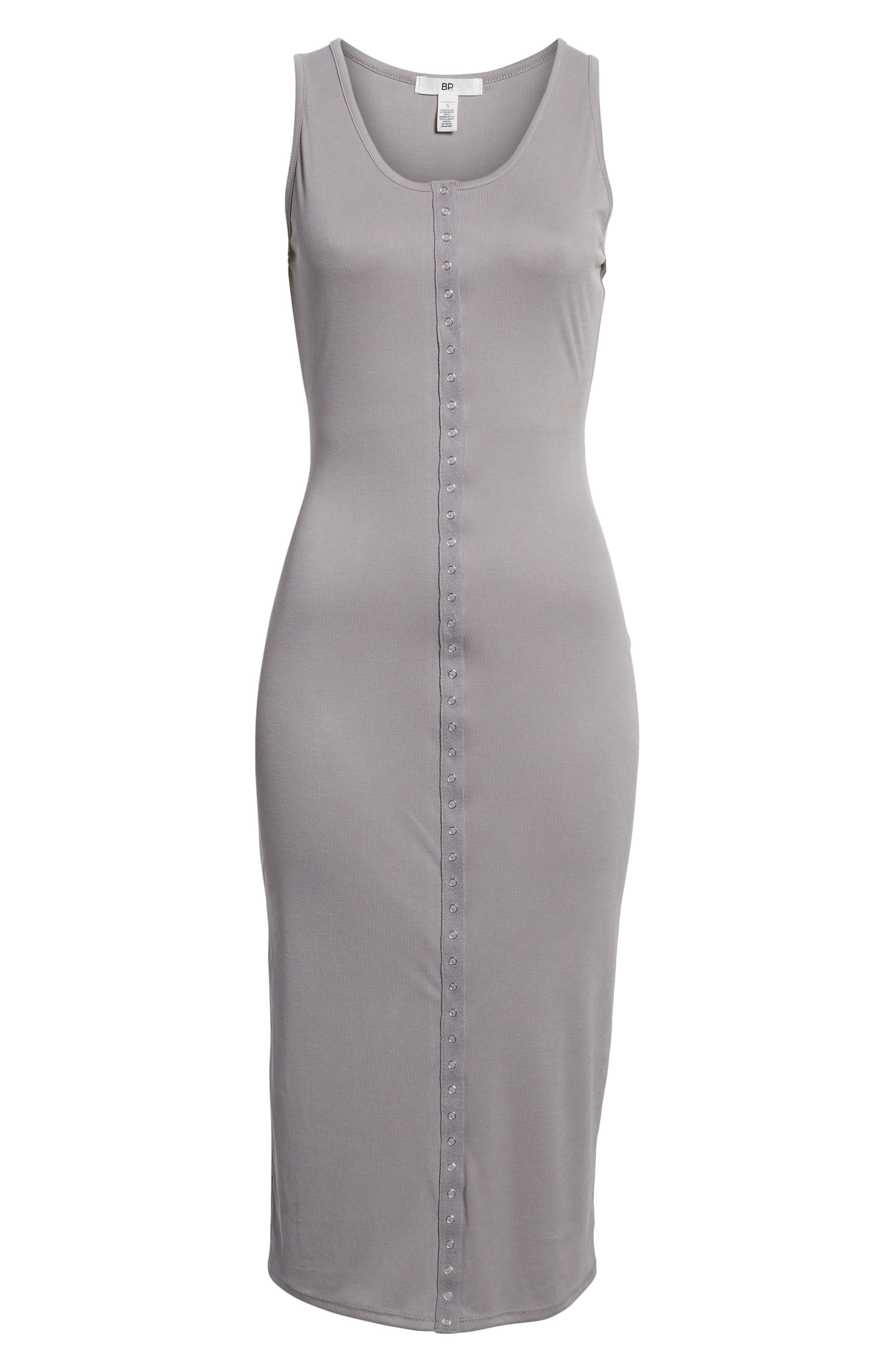 Snap Front Midi Dress,                             Alternate thumbnail 6, color,                             Grey Cloudburst