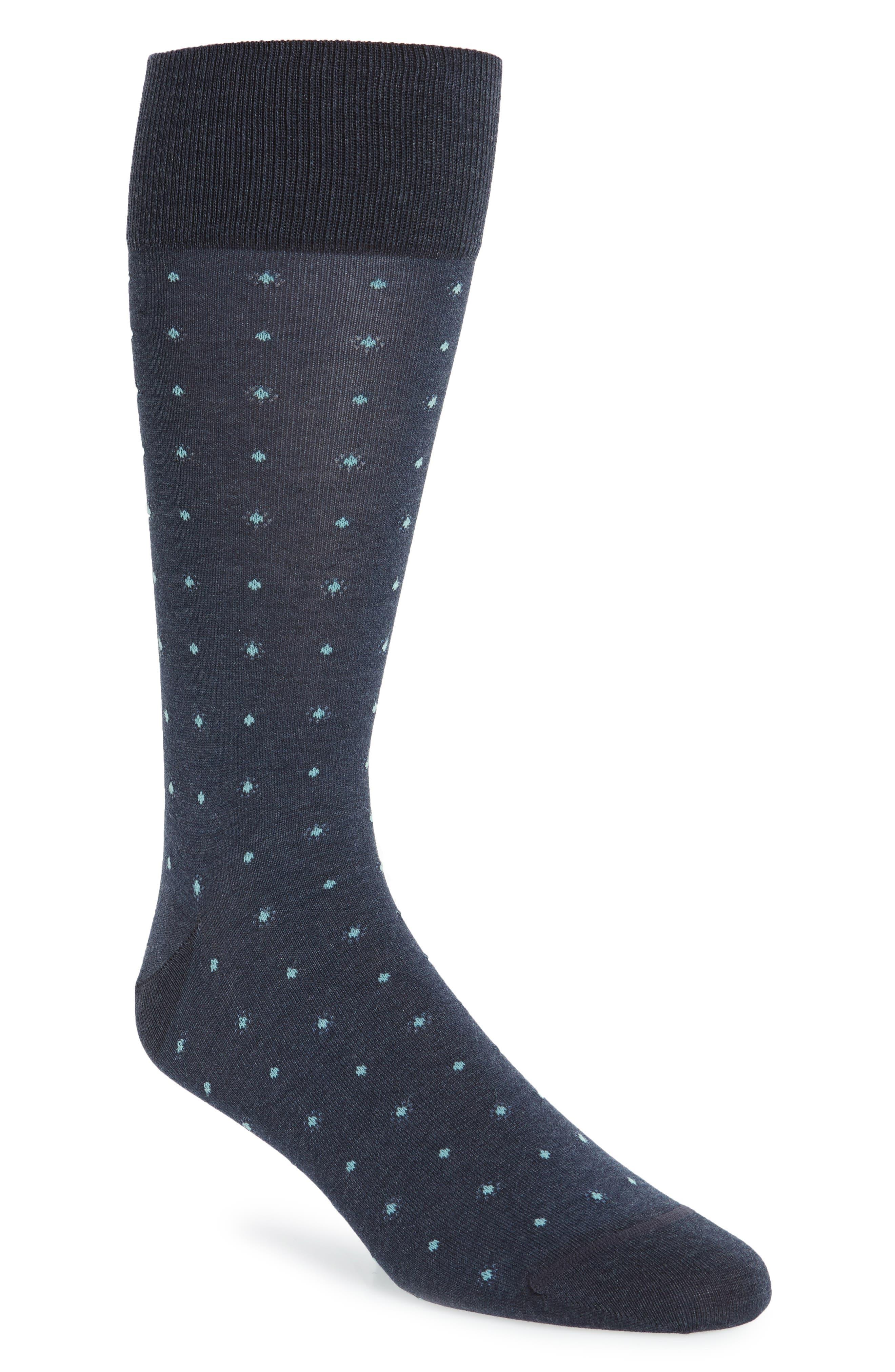 Dot Socks,                             Main thumbnail 1, color,                             Blue Denim