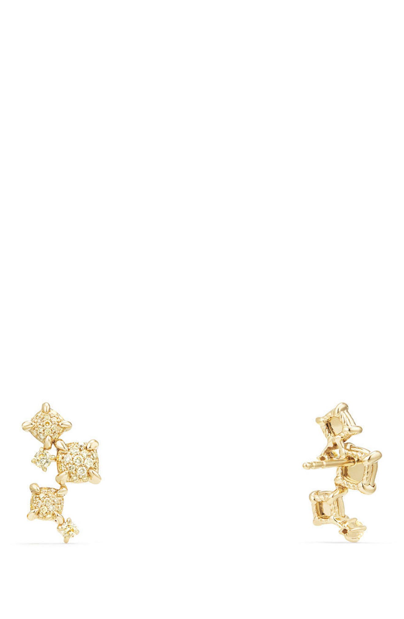 Petite Châtelaine Climber Earrings in 18K Gold with Diamonds,                             Alternate thumbnail 2, color,                             Yellow Diamond