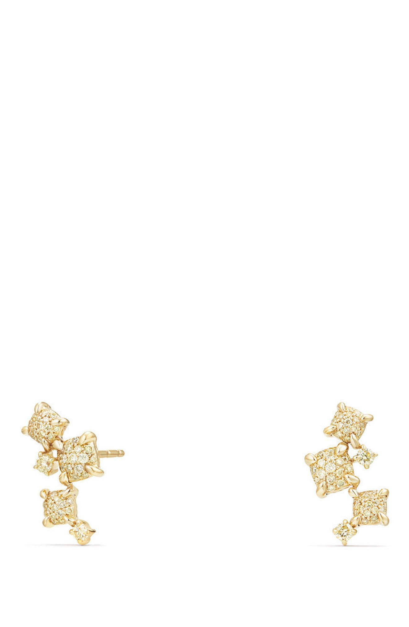 Petite Châtelaine Climber Earrings in 18K Gold with Diamonds,                         Main,                         color, Yellow Diamond