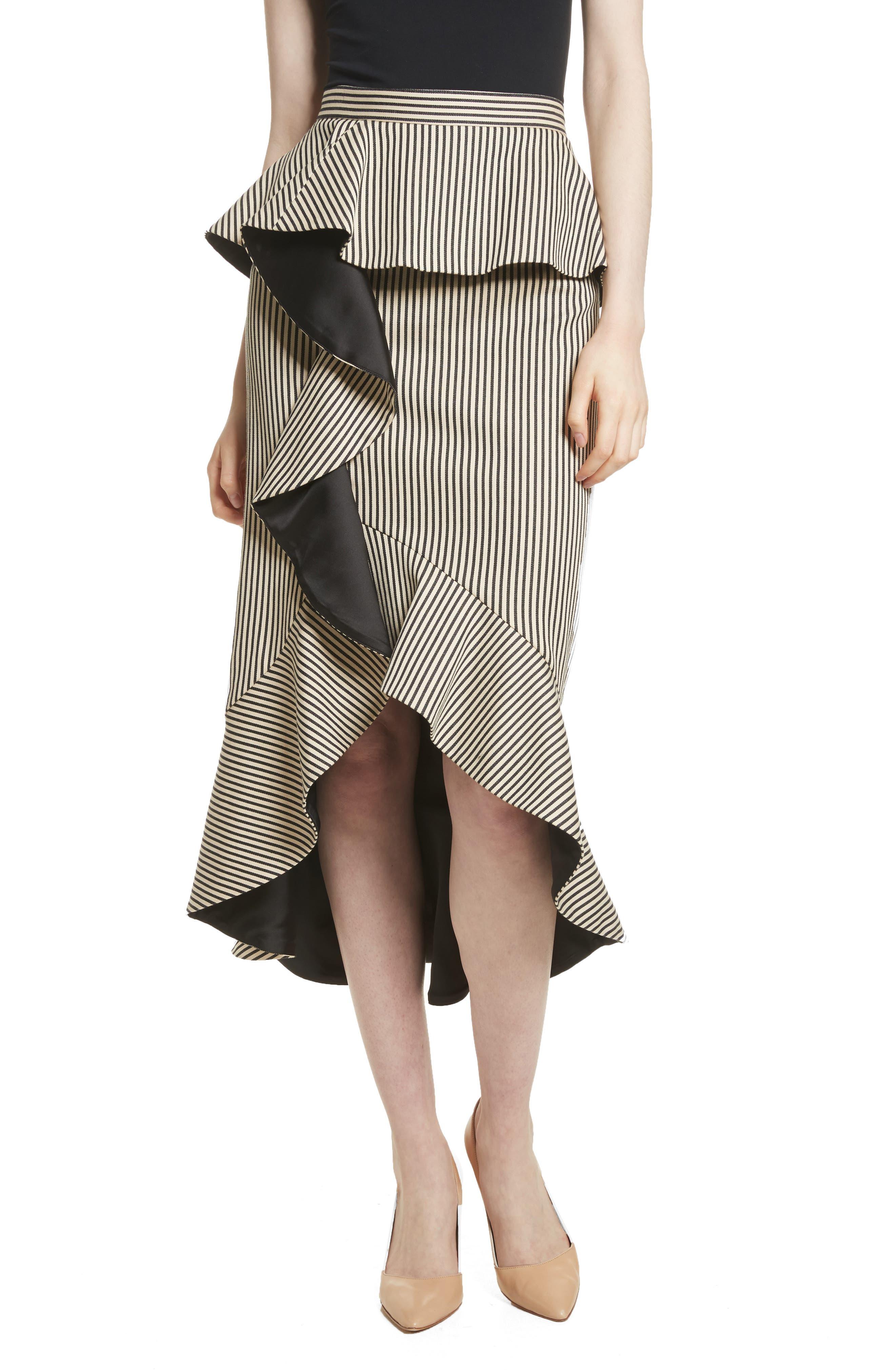 Alice + Olivia Alessandra Stripe Peplum Ruffle Skirt