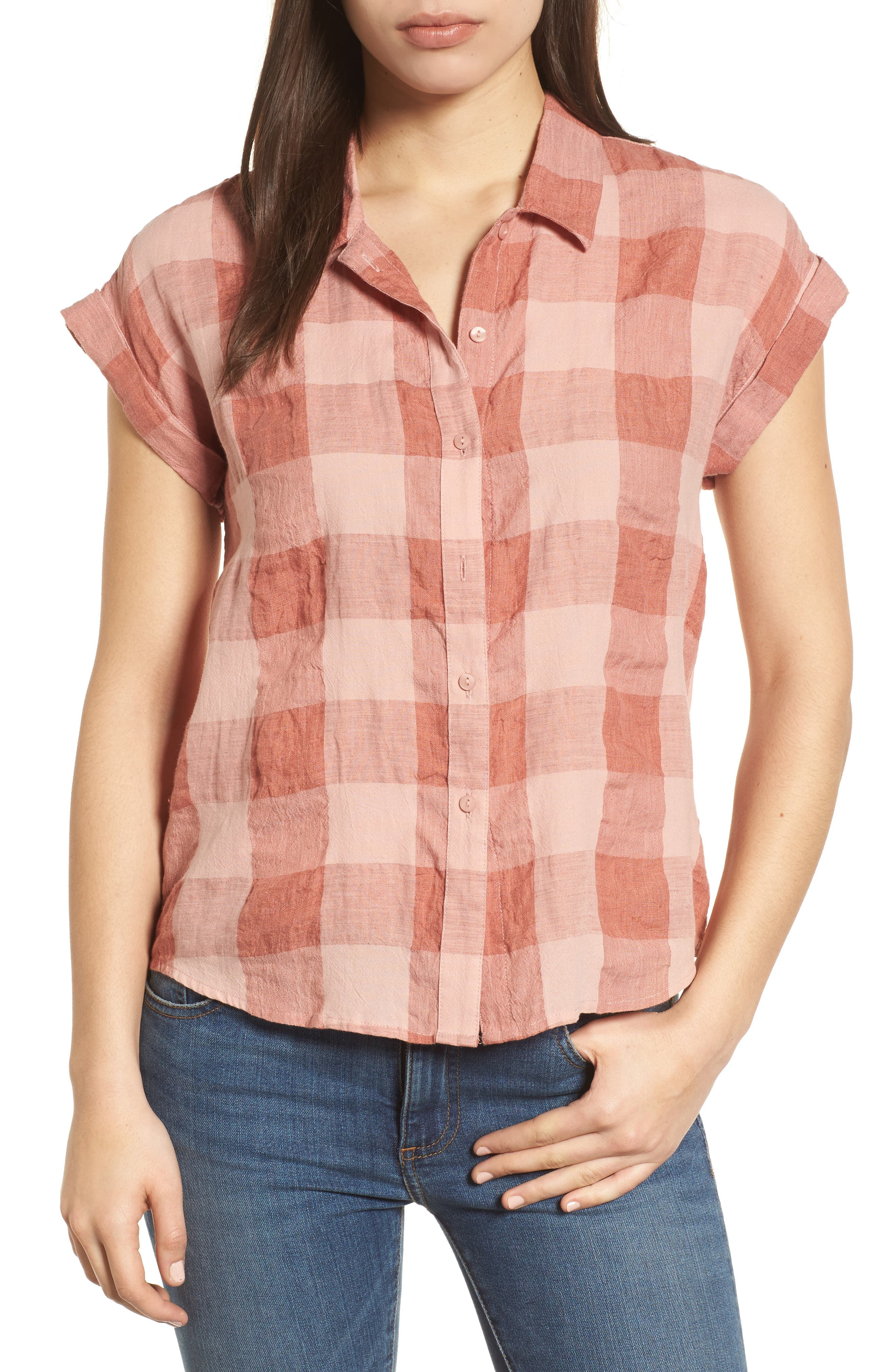 Plaid Short Sleeve High/Low Top,                         Main,                         color, Pink Multi