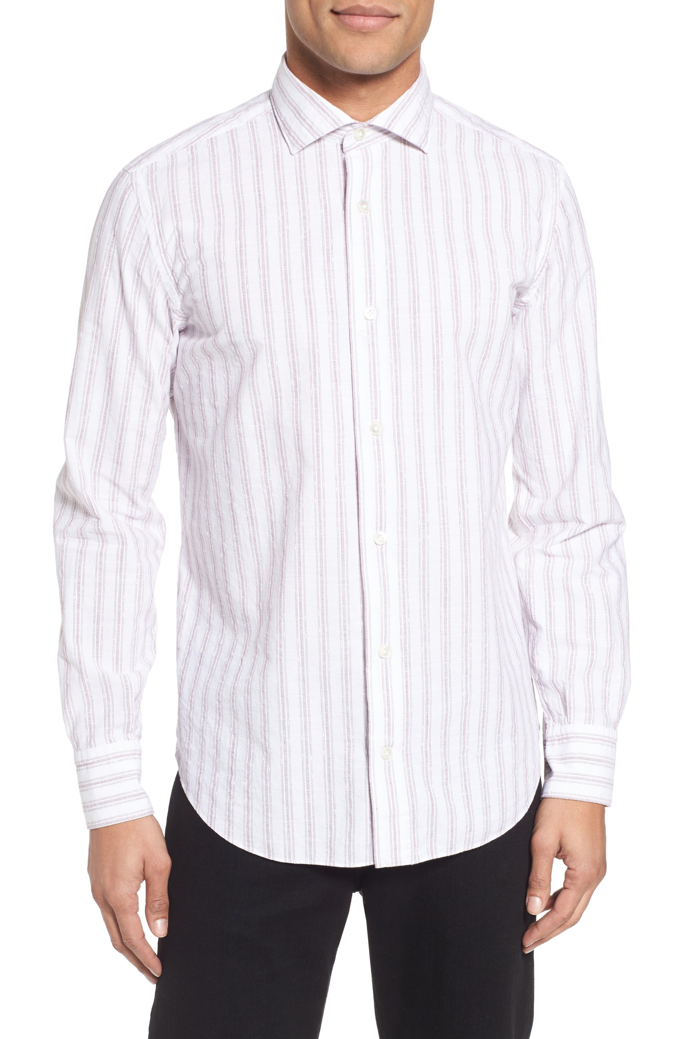 John T Slim Fit Sport Shirt,                         Main,                         color, Blue/ Nat