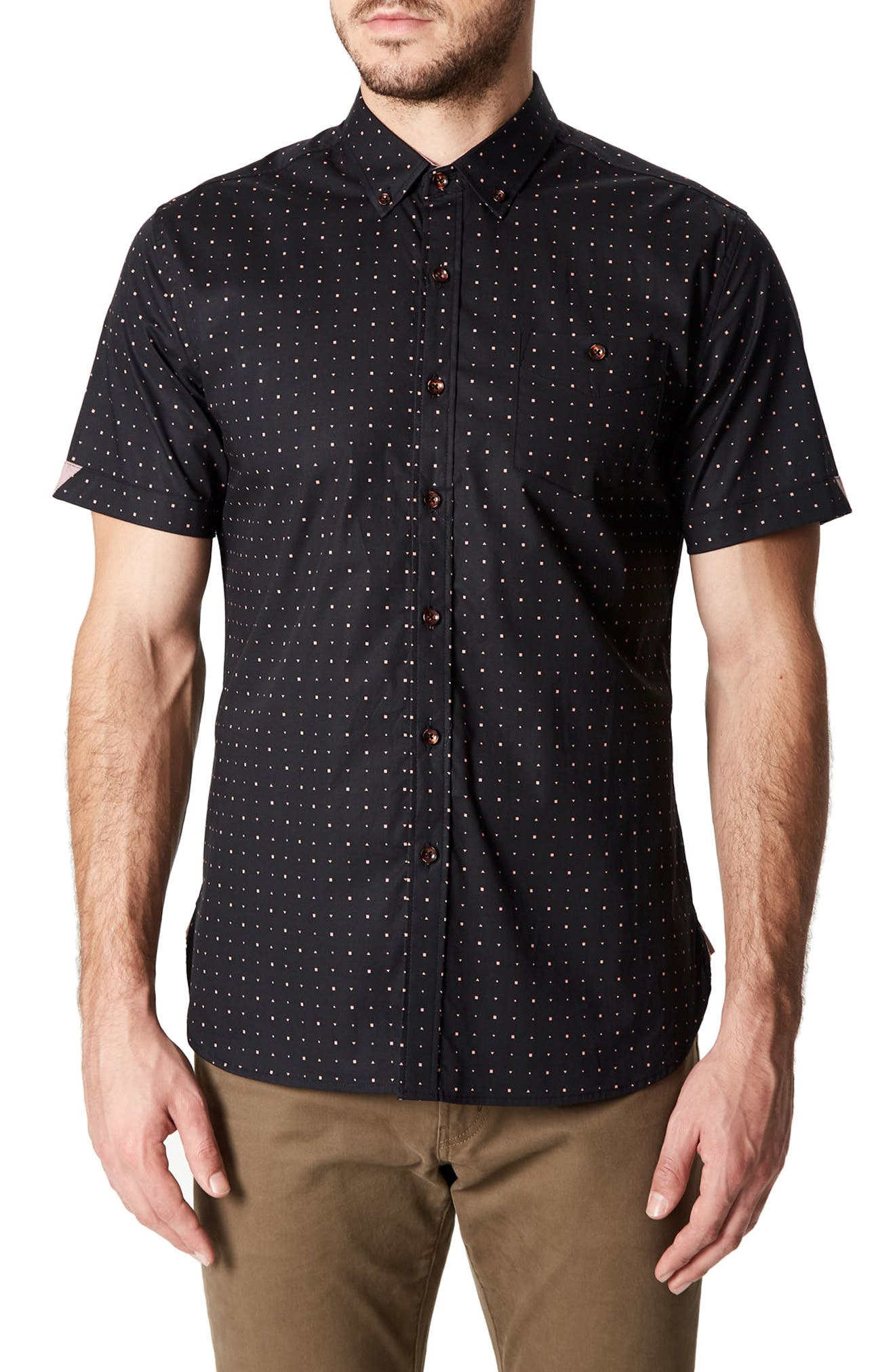 7 Diamonds Reverse Dot Print Woven Shirt