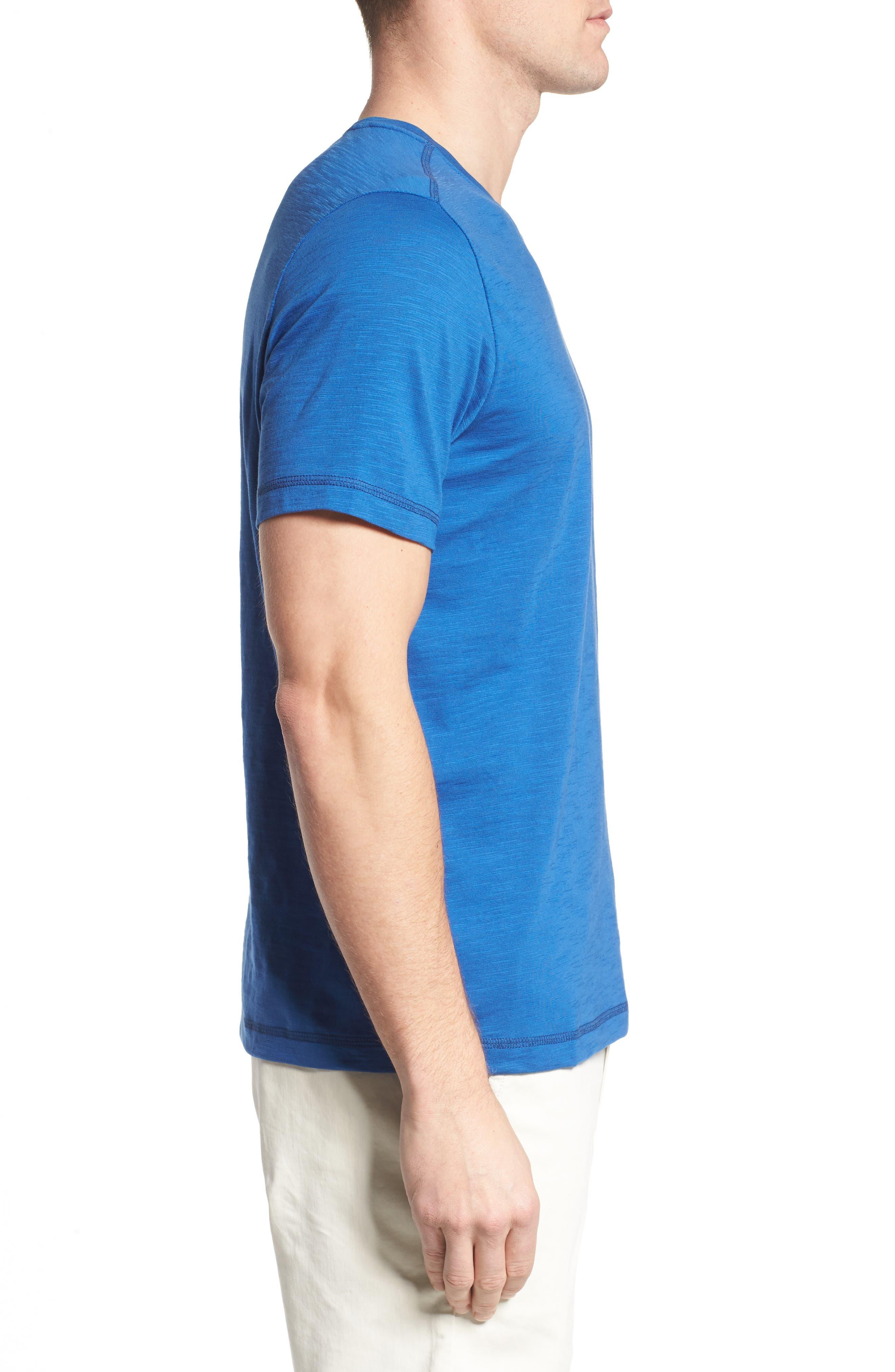 Portside Palms V-Neck T-Shirt,                             Alternate thumbnail 3, color,                             Galaxy Blue