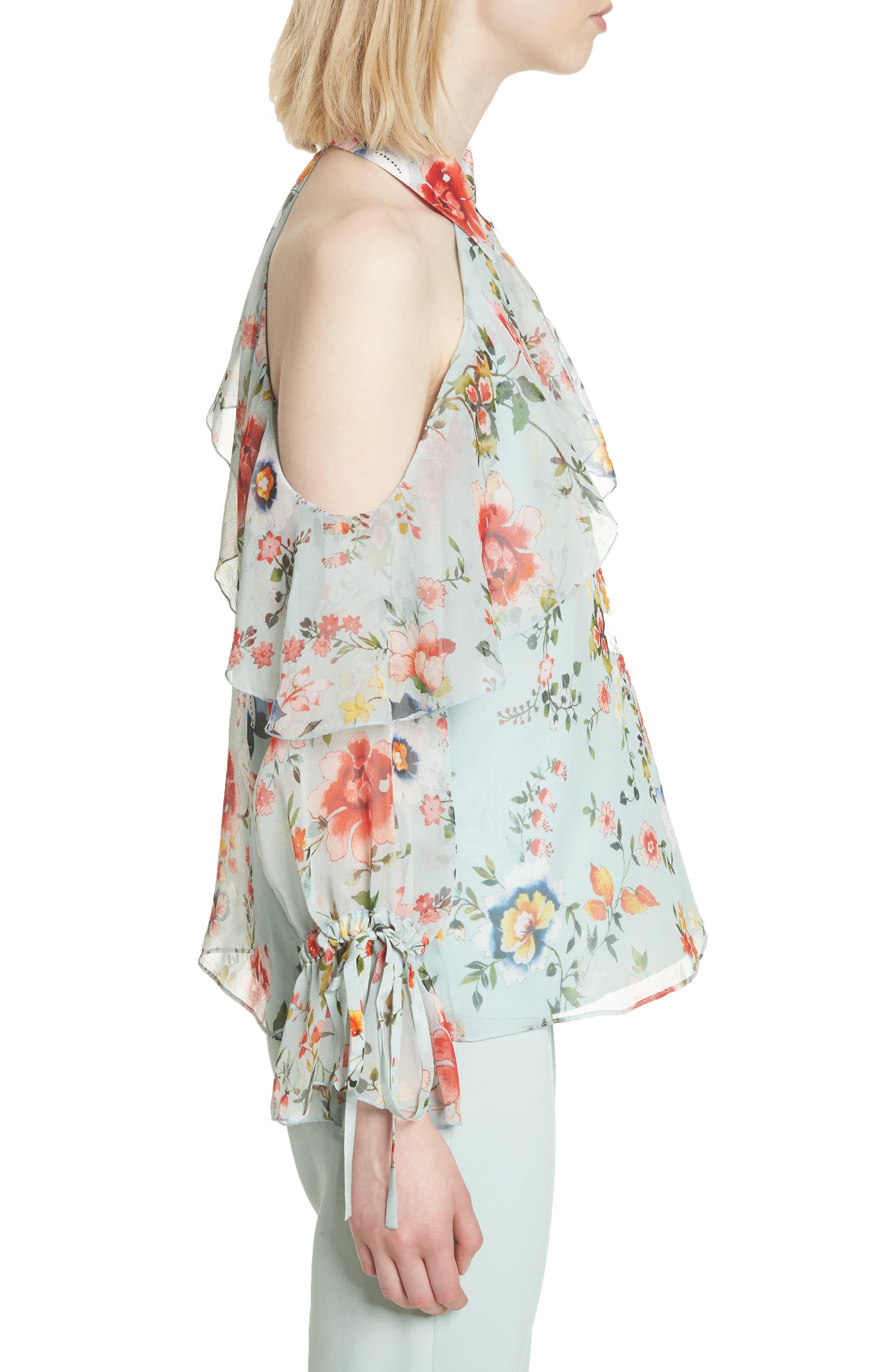 Blayne Cold Shoulder Floral Silk Blouse,                             Alternate thumbnail 3, color,                             Floral Soiree-Dusty Aqua