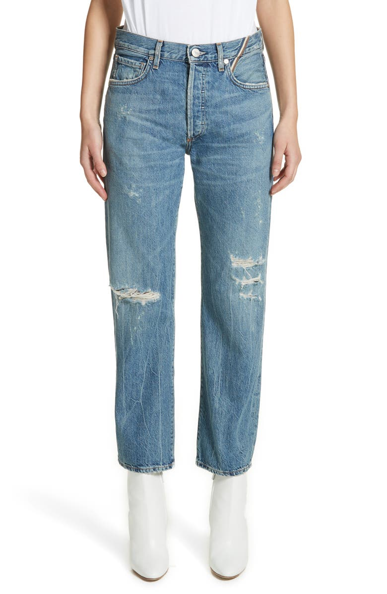 Laurent High Rise Distressed Boyfriend Jeans