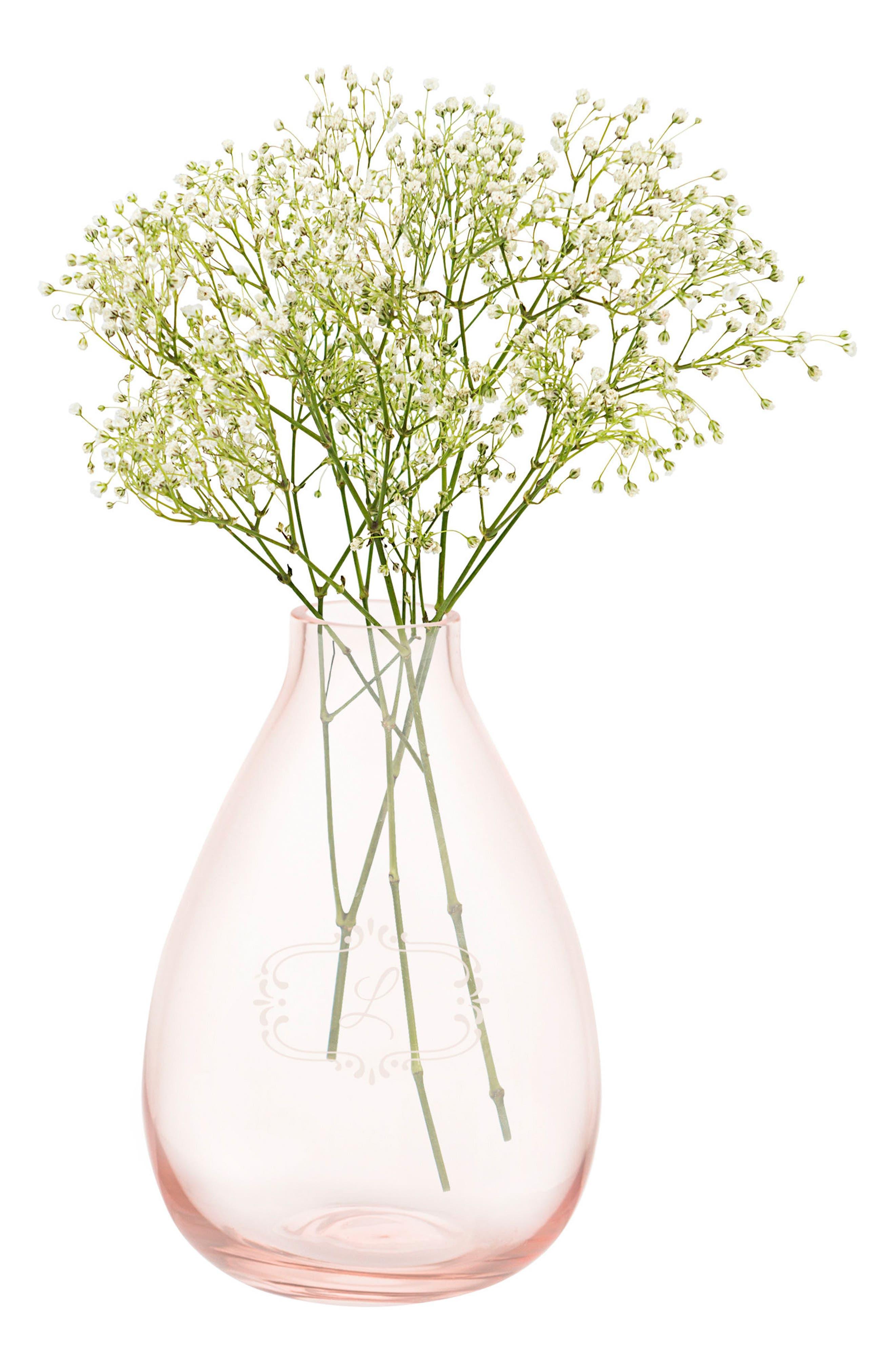 Monogram Glass Vase,                         Main,                         color, Rose Gold - L