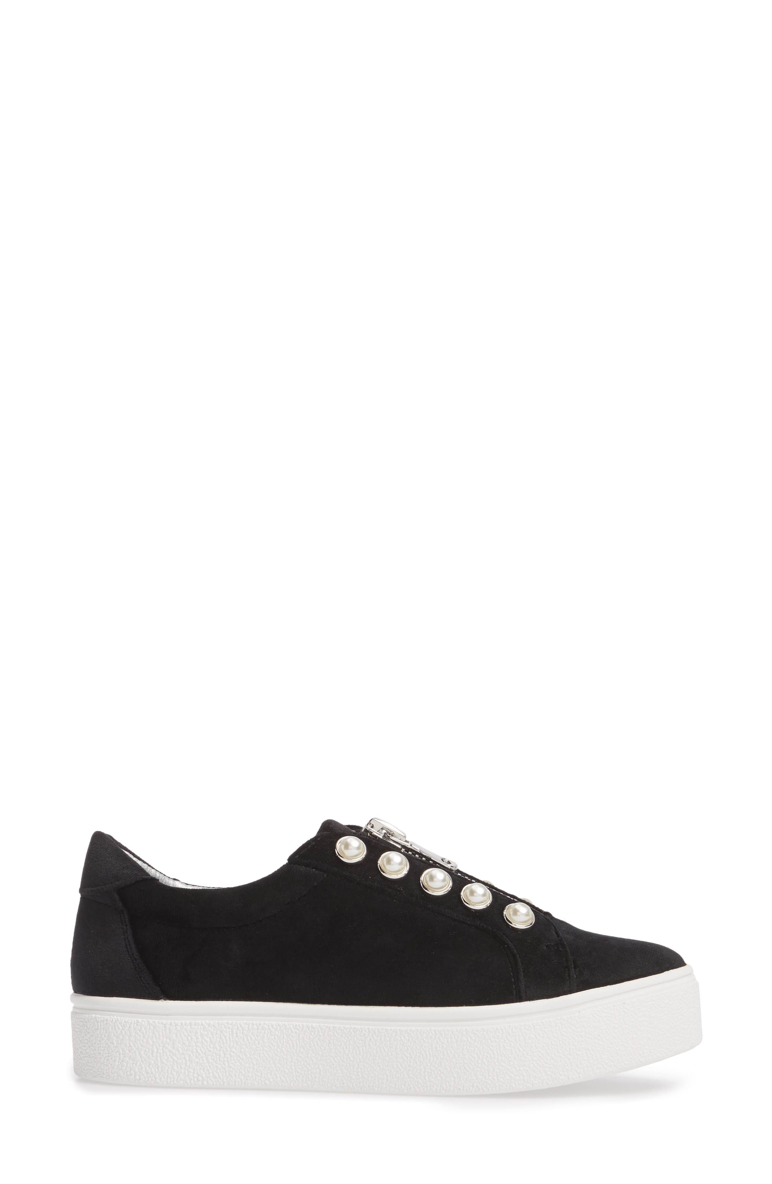 Lynn Embellished Platform Sneaker,                             Alternate thumbnail 3, color,                             Black Velvet