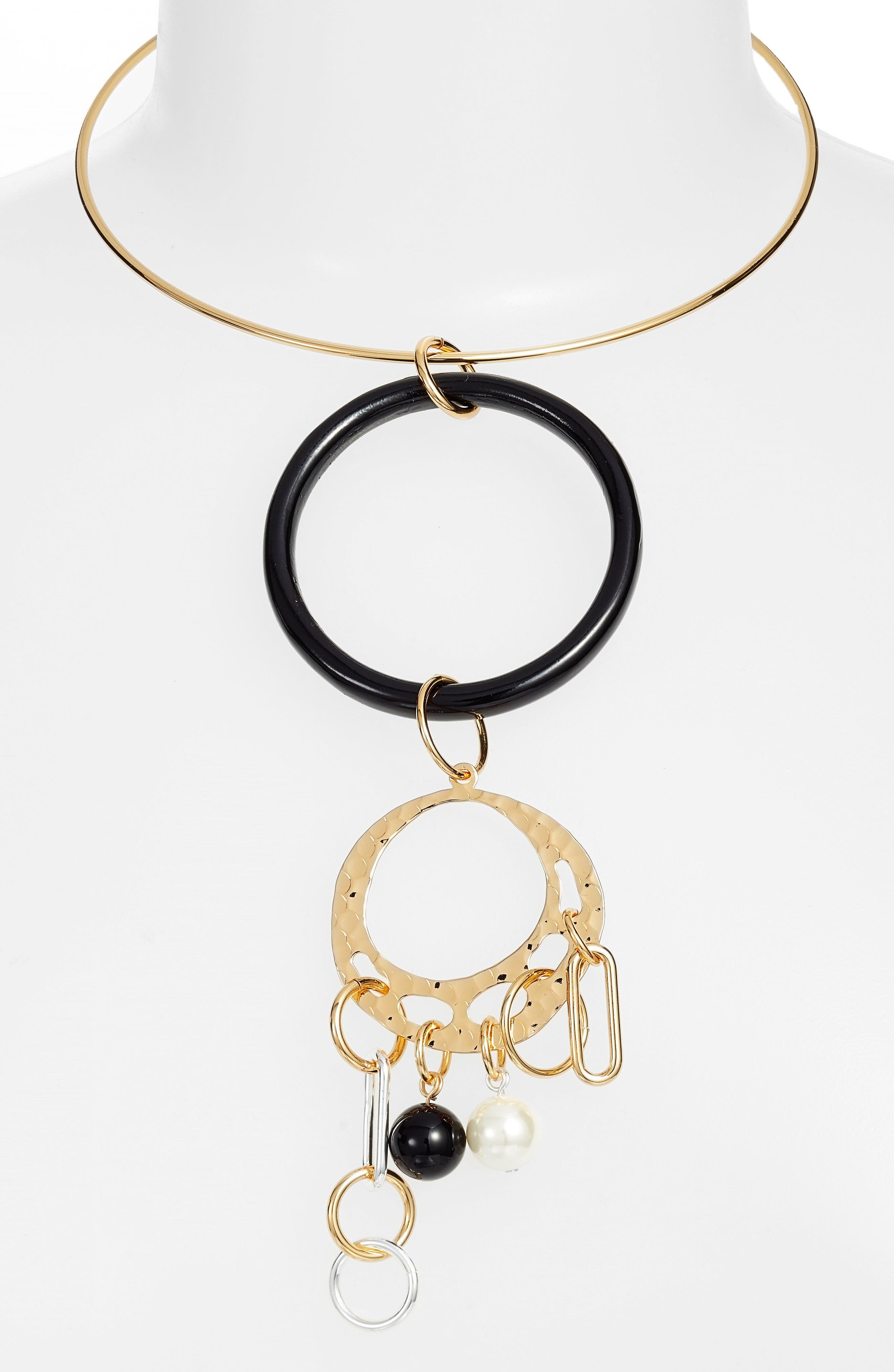 Ring Pendant Necklace,                         Main,                         color, Black Multi
