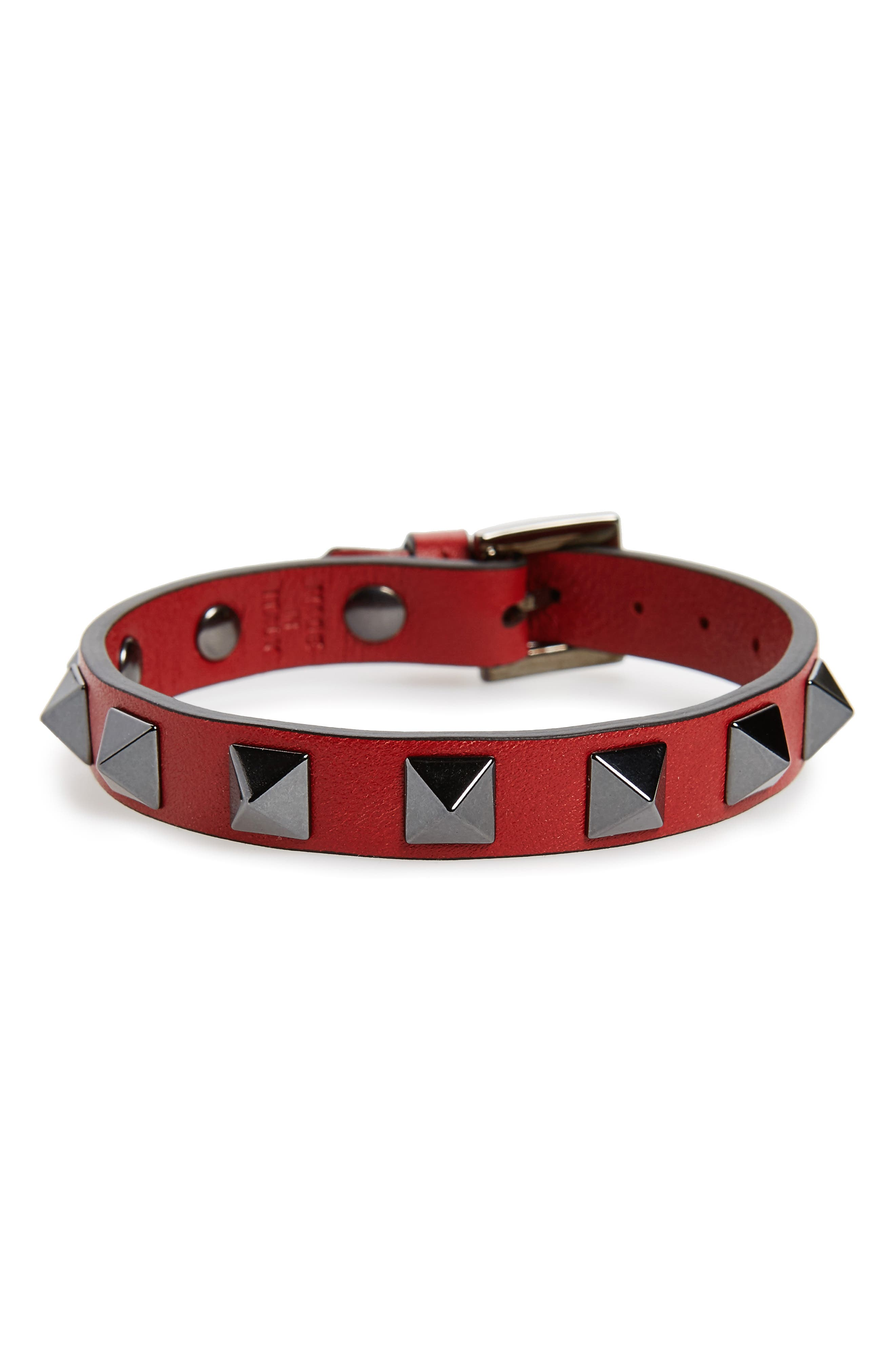Rockstud Leather Bracelet,                             Main thumbnail 1, color,                             Red