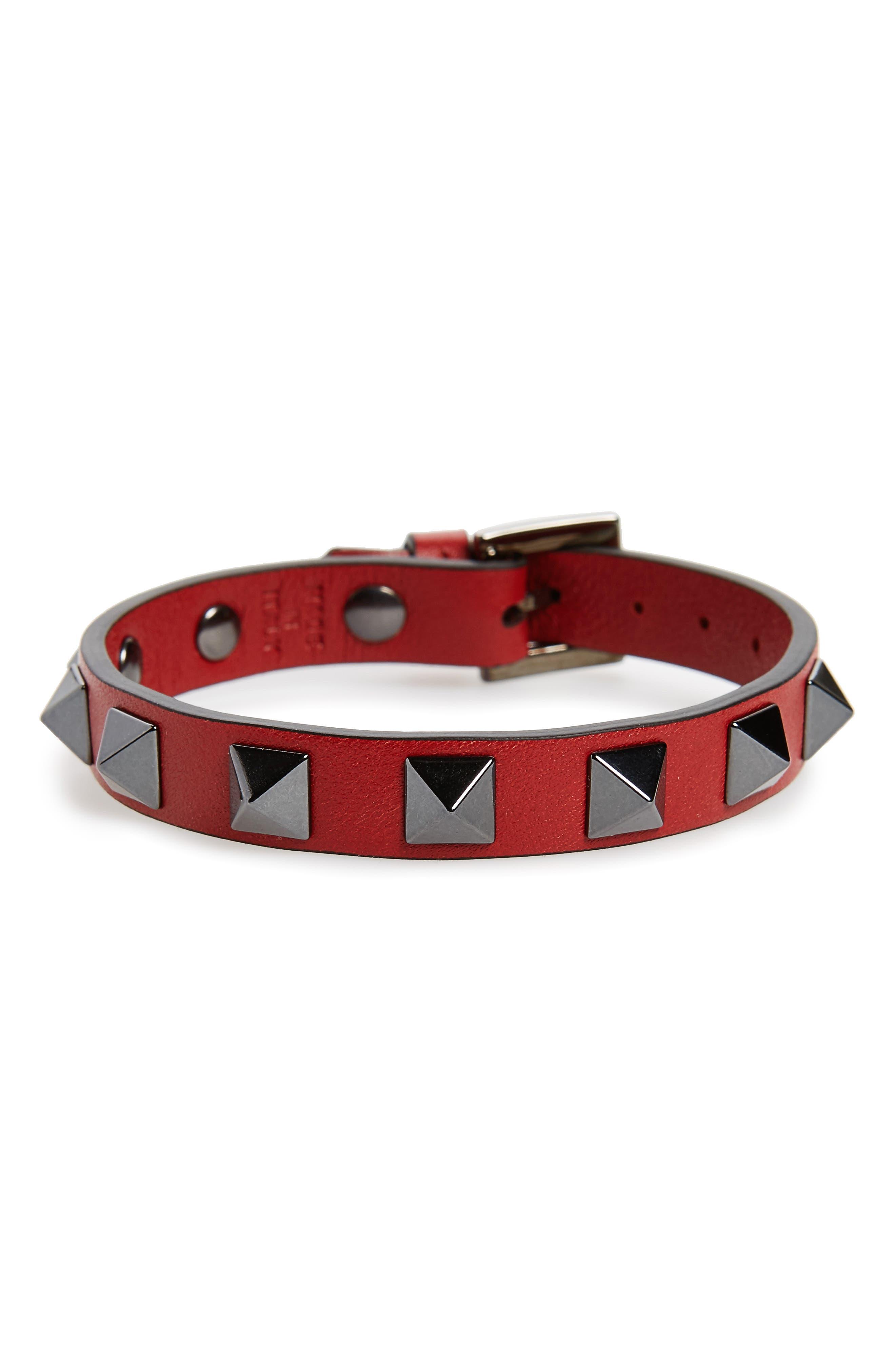 Rockstud Leather Bracelet,                         Main,                         color, Red