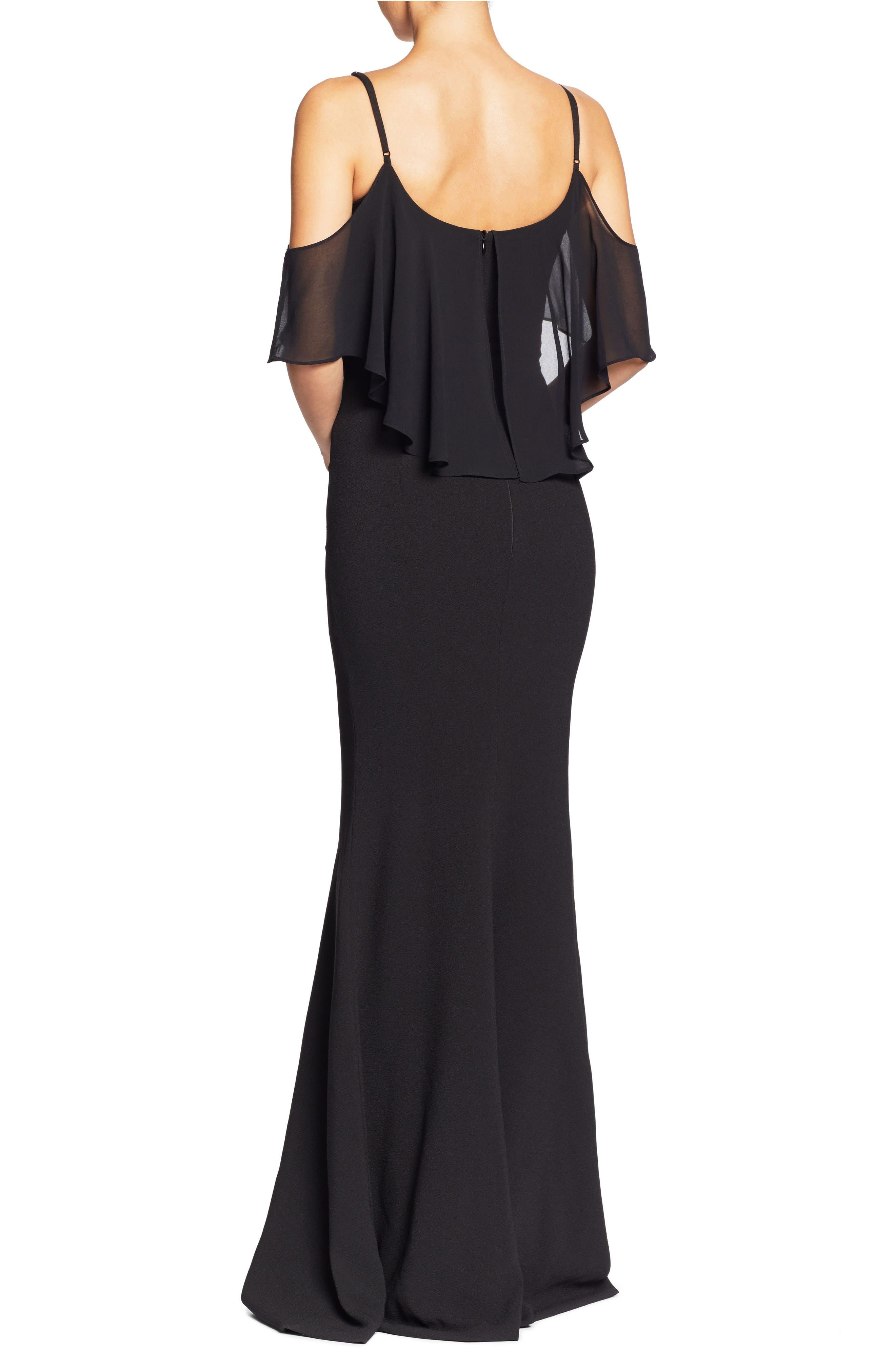 Diana Cold Shoulder Side Slit Gown,                             Alternate thumbnail 4, color,                             Black