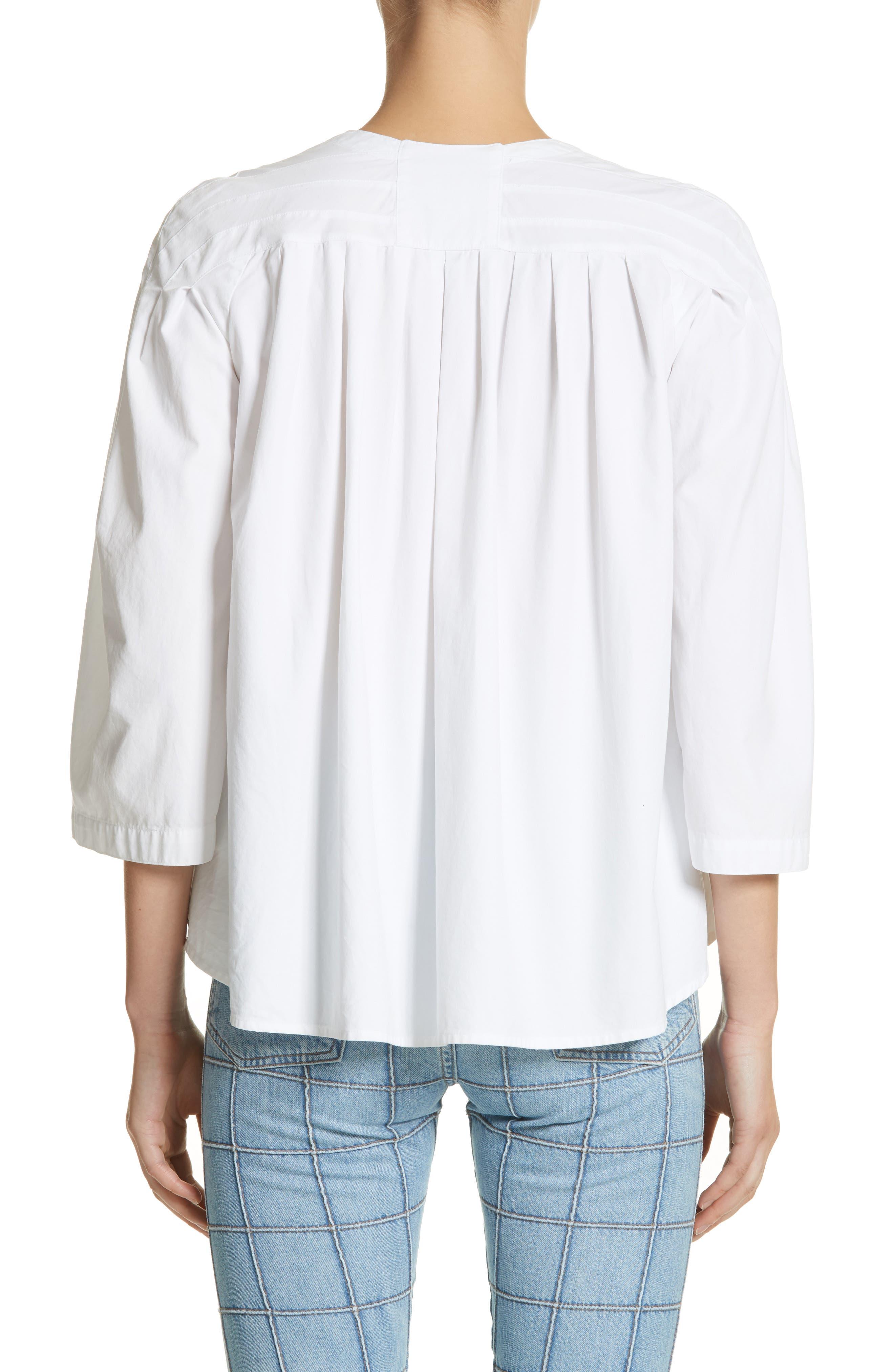 Ilona Lace-Up Cotton Top,                             Alternate thumbnail 2, color,                             White