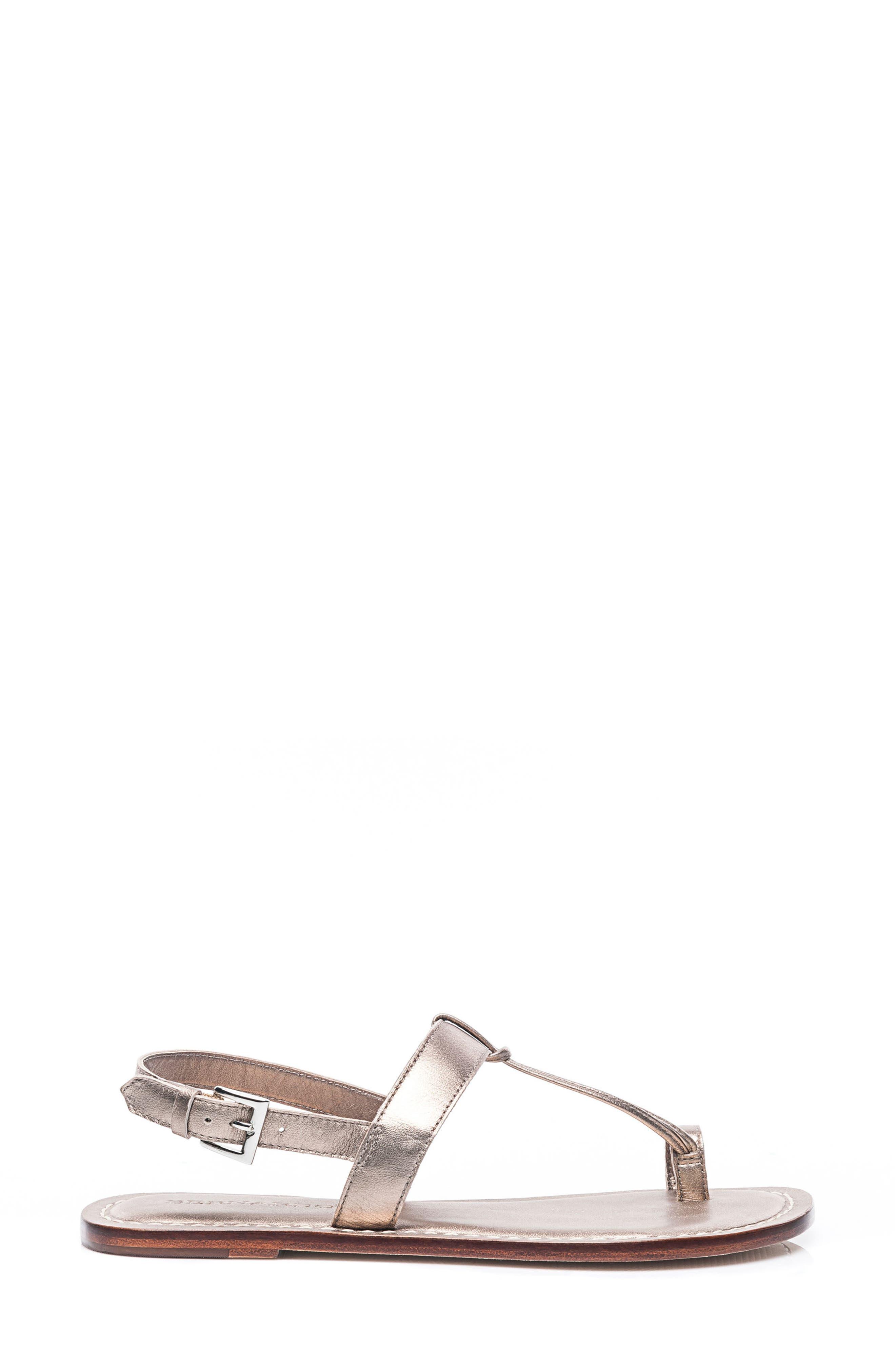 Bernardo Maverick Leather Sandal,                             Alternate thumbnail 3, color,                             Platinum Leather