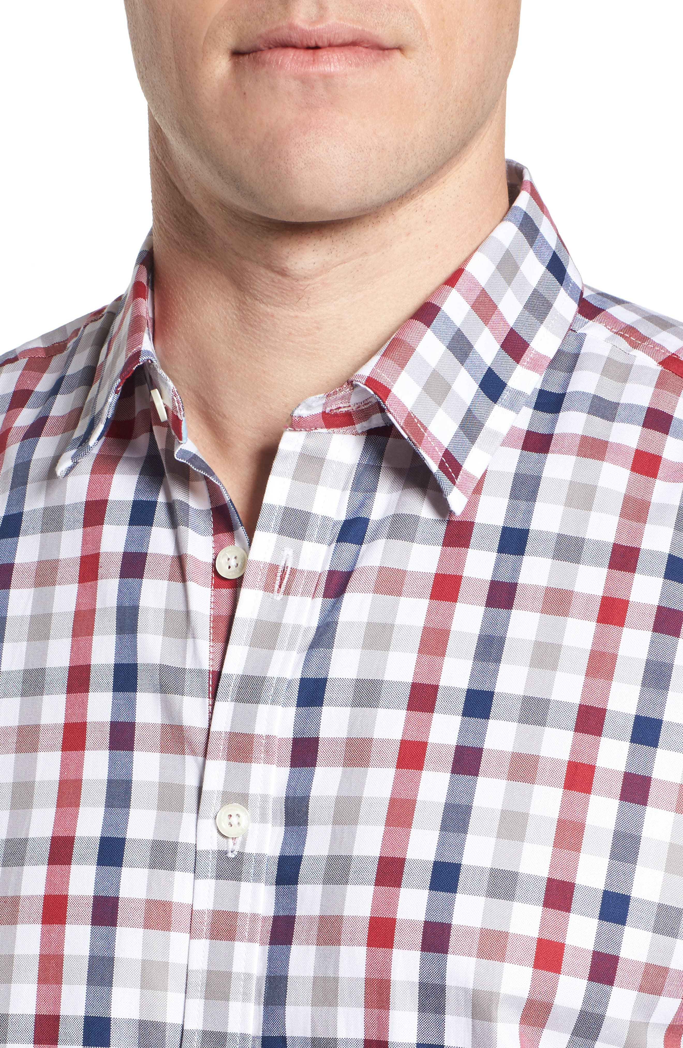 Fitted Check Sport Shirt,                             Alternate thumbnail 4, color,                             Medium Red