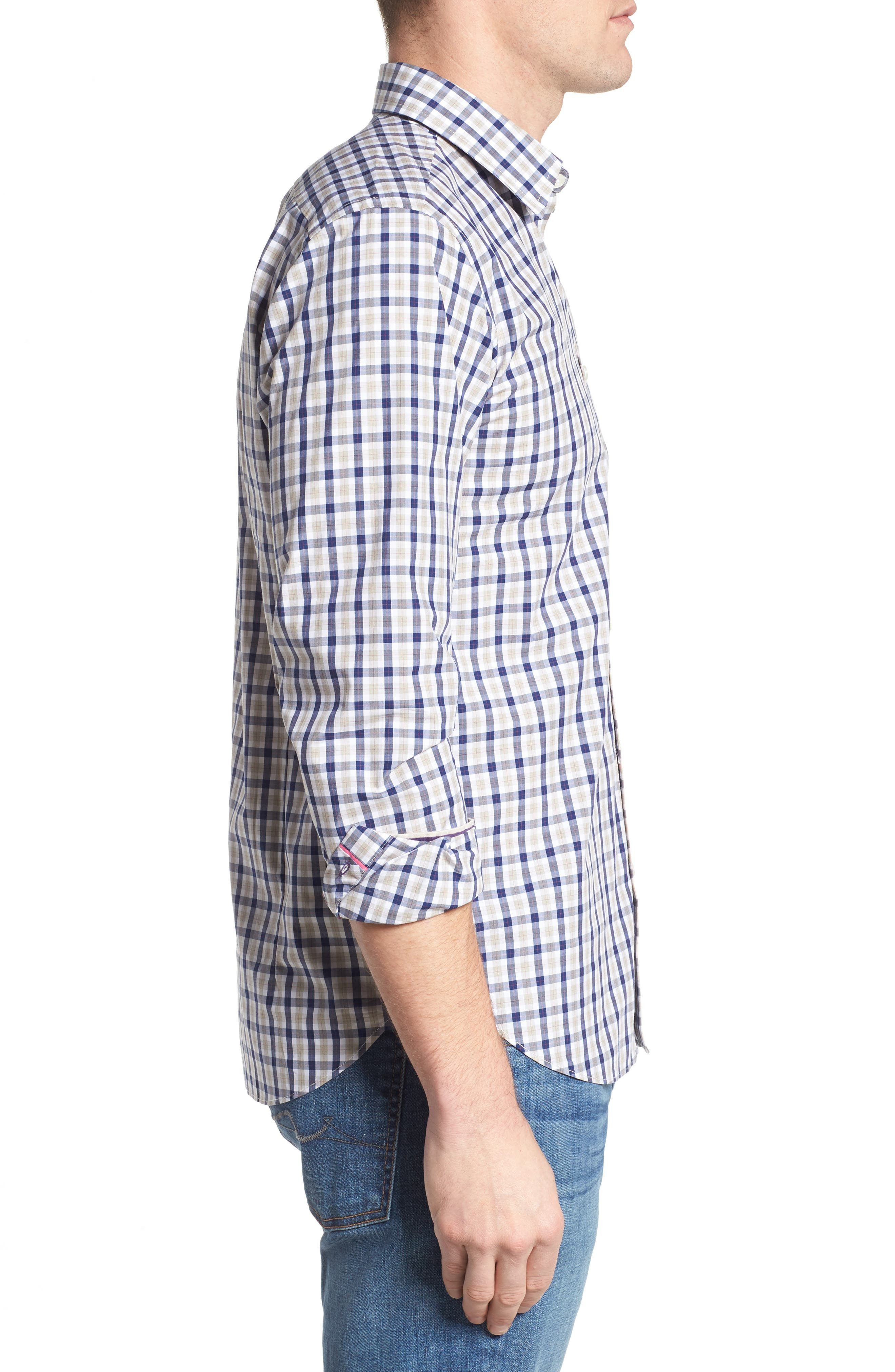 Fitted Plaid Sport Shirt,                             Alternate thumbnail 3, color,                             Dark Blue