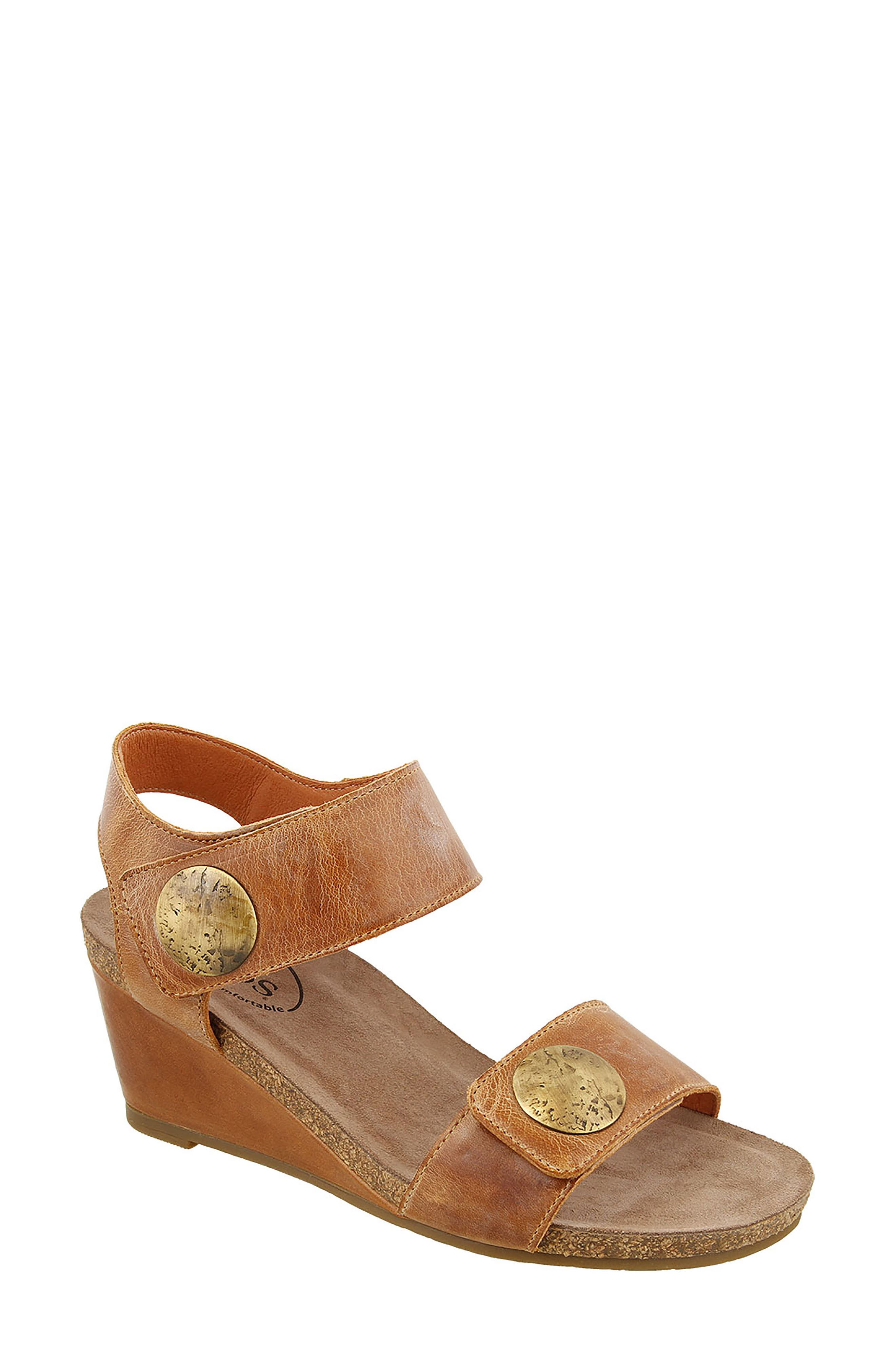 'Carousel 2' Wedge Sandal,                             Main thumbnail 1, color,                             Camel Suede