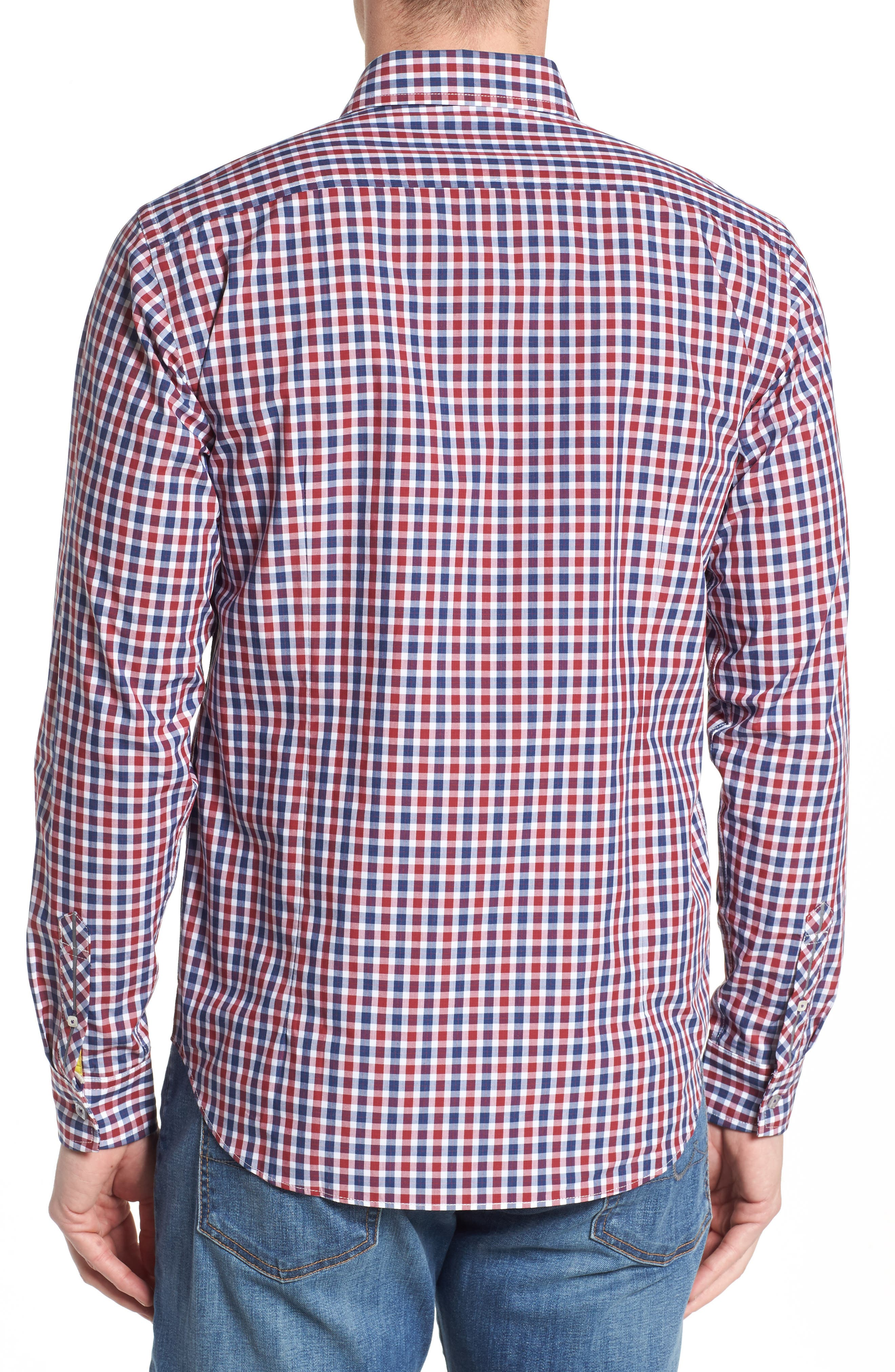 Slim Fit Check Sport Shirt,                             Alternate thumbnail 2, color,                             Bright Red