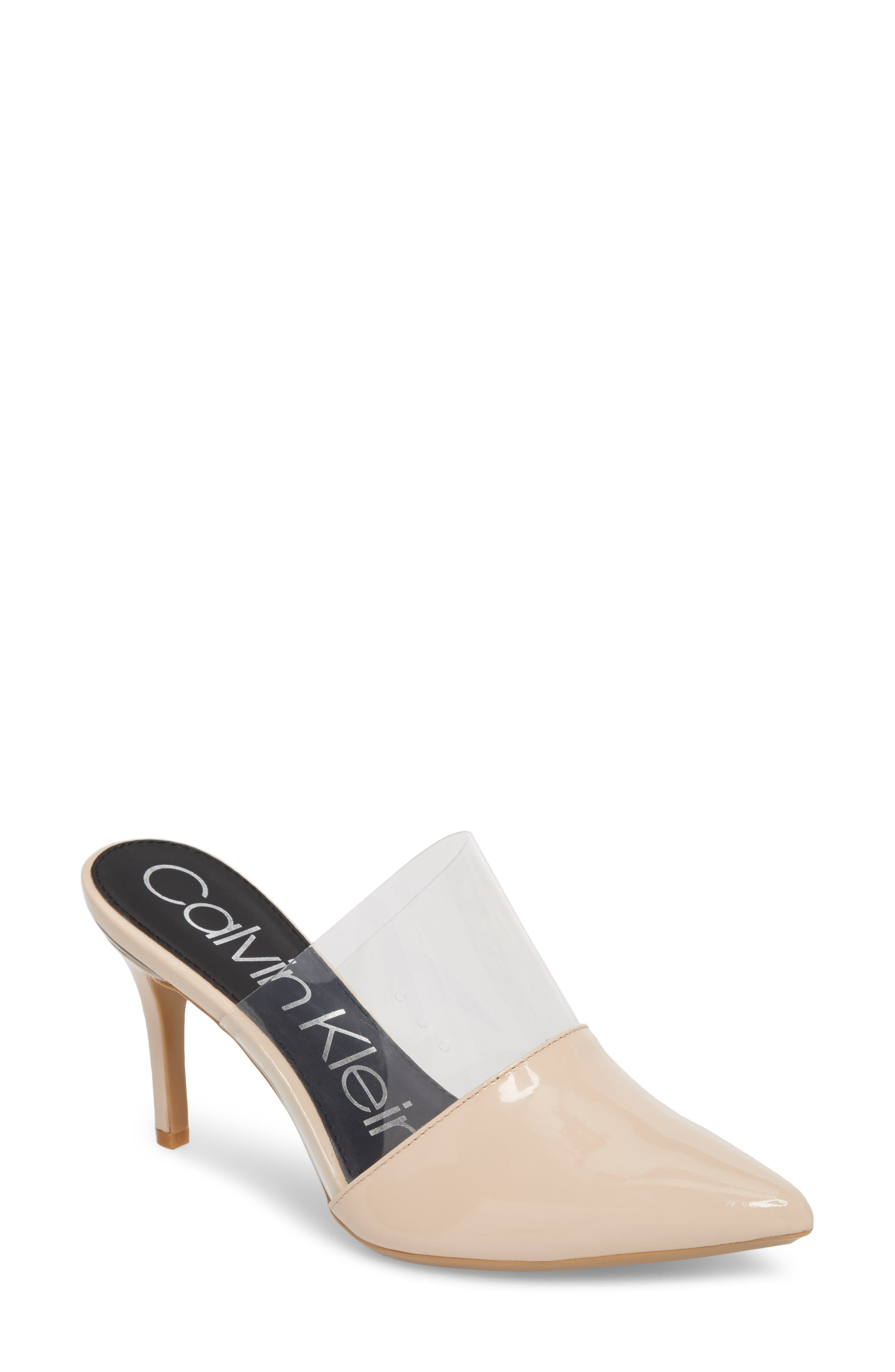 Graycie Pointy Toe Mule,                         Main,                         color, Pink Leather