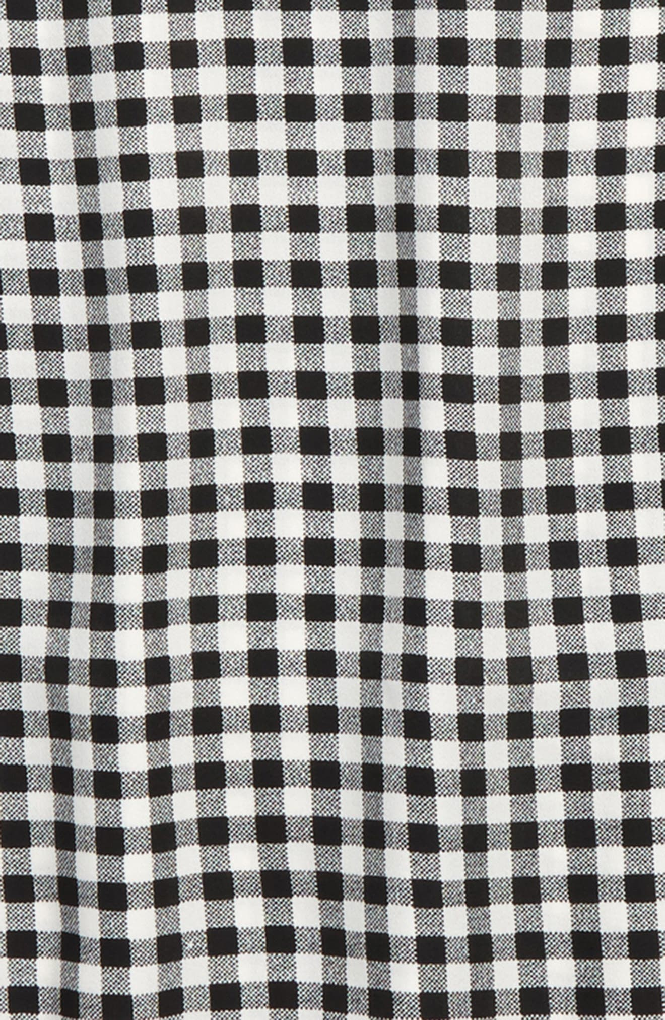 Gingham Ruffle Sleeve Top,                             Alternate thumbnail 2, color,                             Black-White