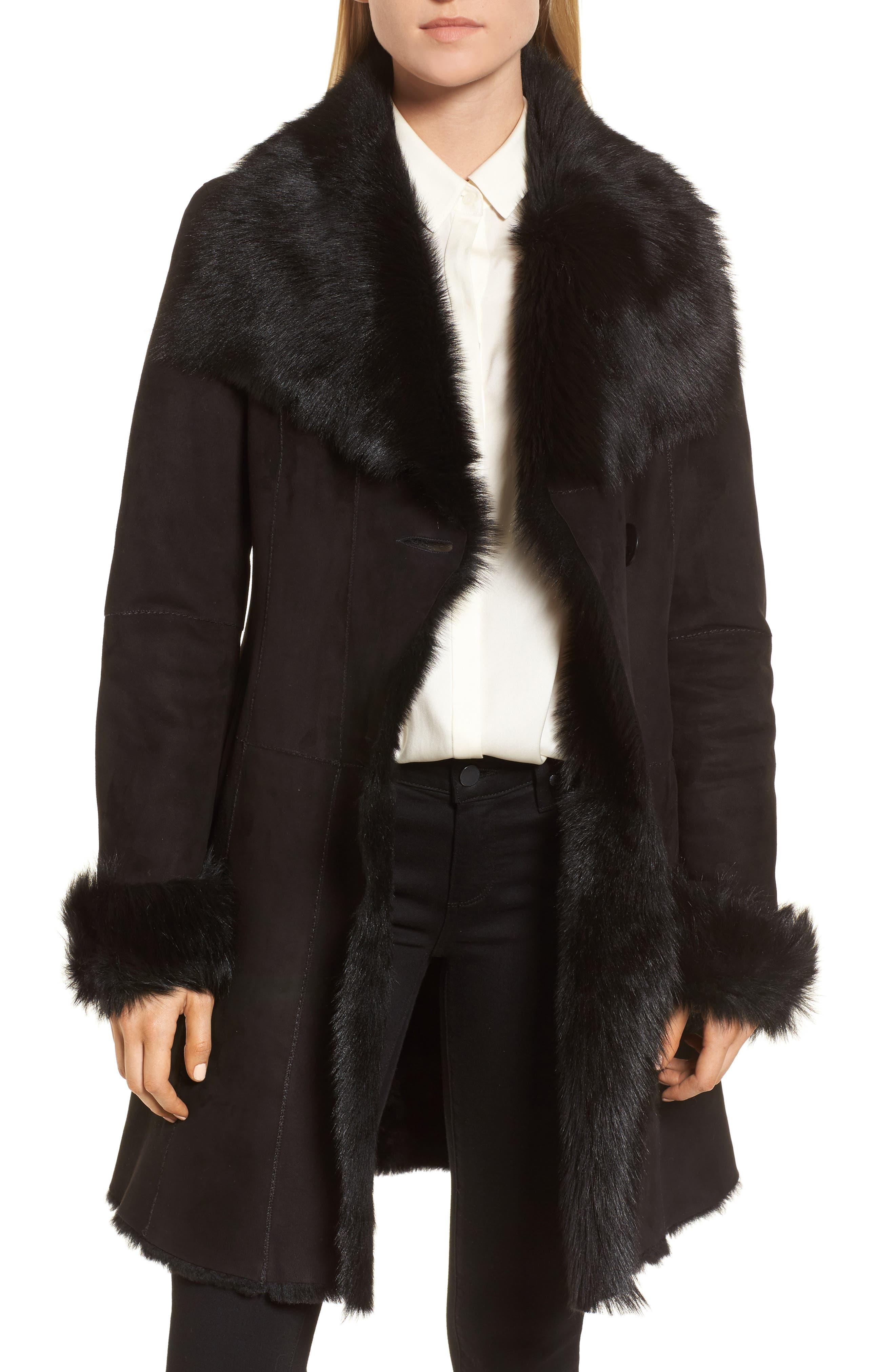 Genuine Shearling Coat,                         Main,                         color, Black Brisa
