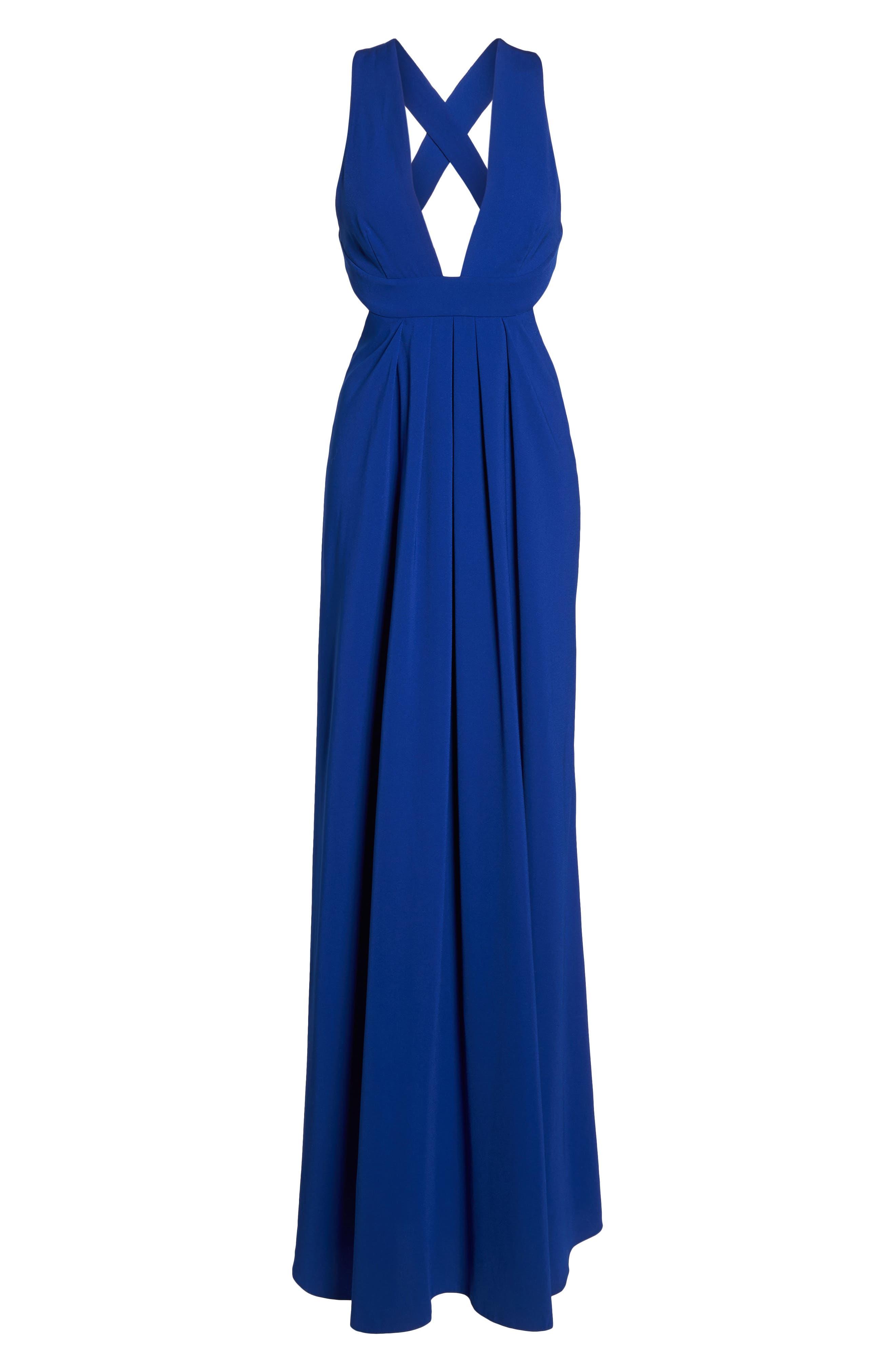 Cutout Crepe Gown,                             Alternate thumbnail 6, color,                             China Blue