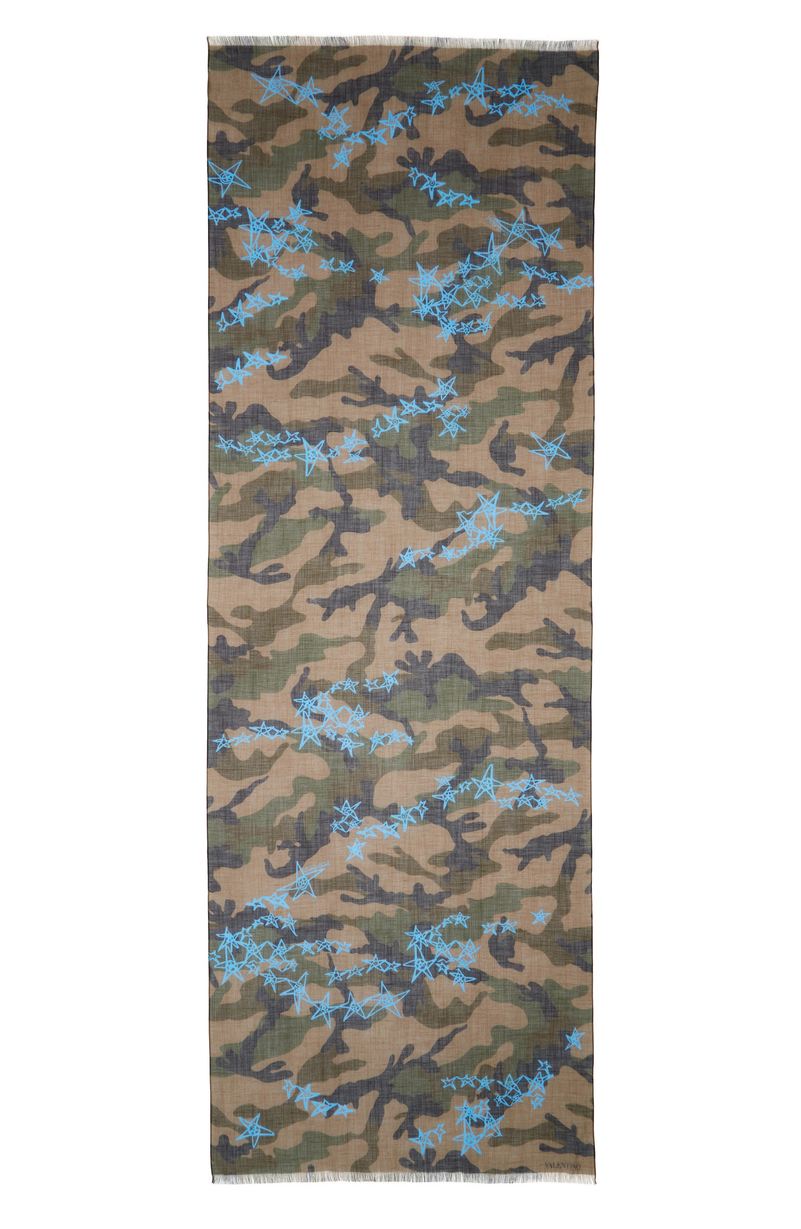 Camo Stars Cotton & Linen Scarf,                             Alternate thumbnail 2, color,                             Army