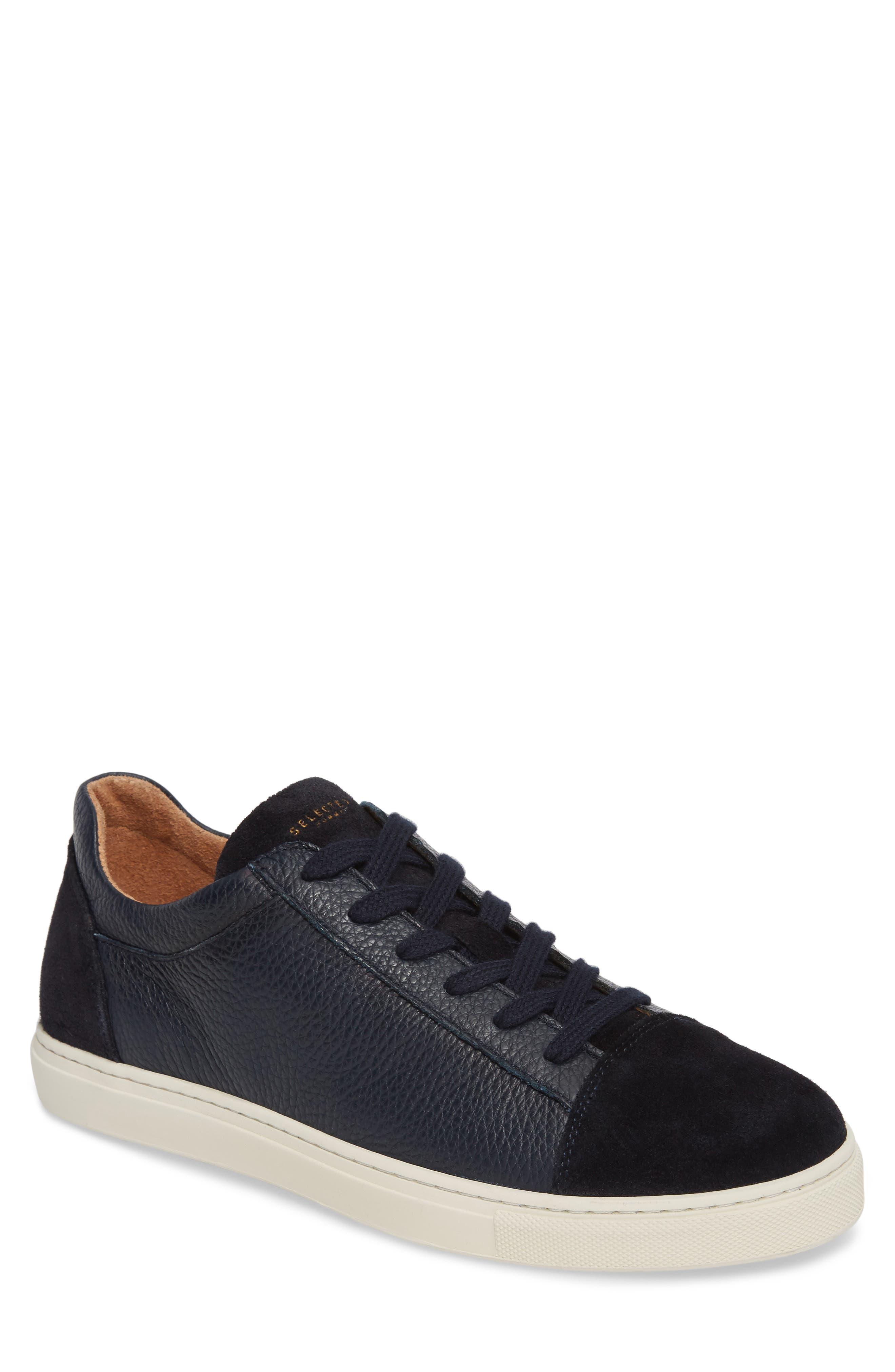 David Cap Toe Sneaker,                             Main thumbnail 1, color,                             Dark Navy Leather/ Suede