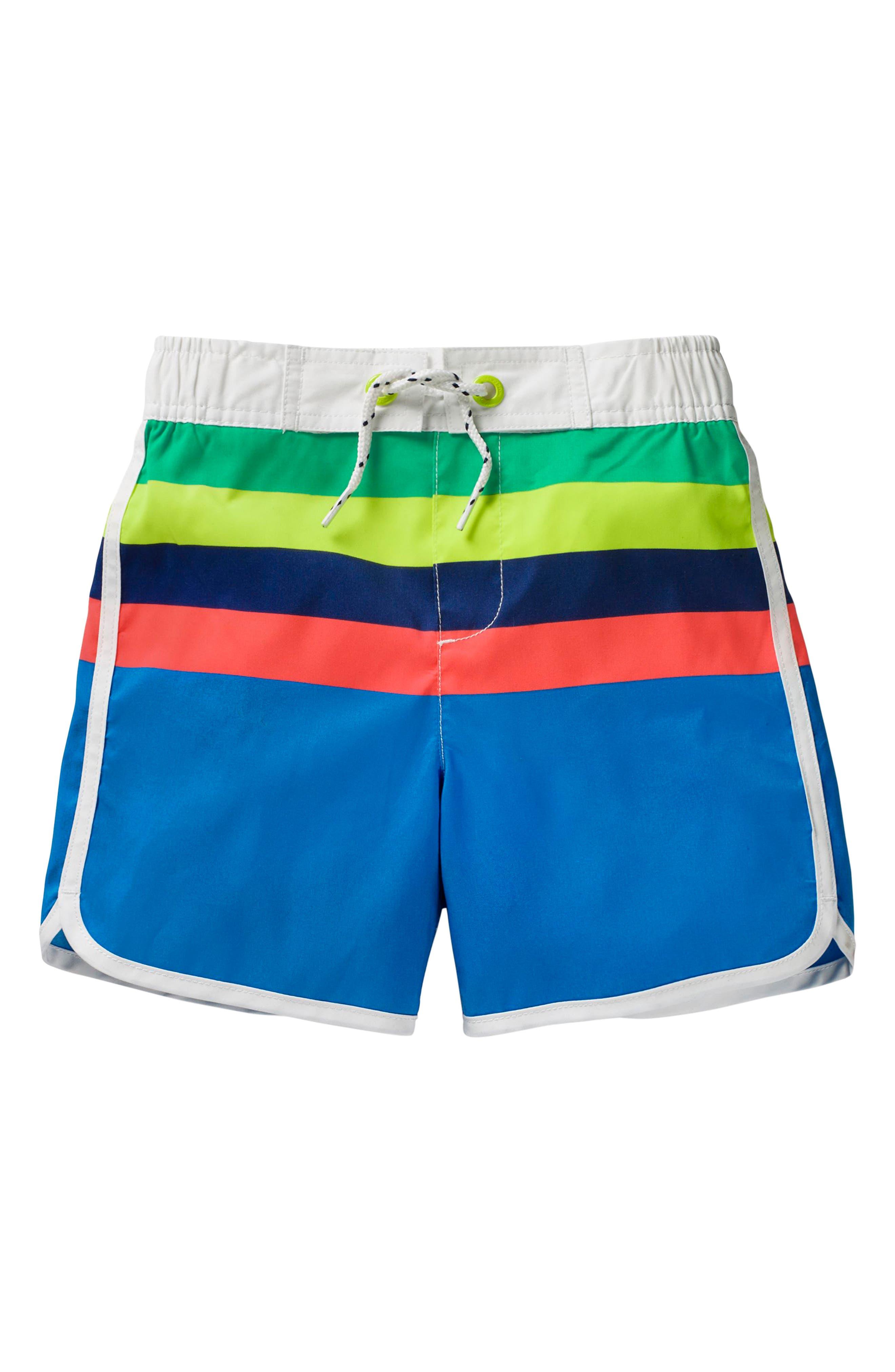 Stripe Board Shorts,                             Main thumbnail 1, color,                             Electric Blue/ Lemonade Multi
