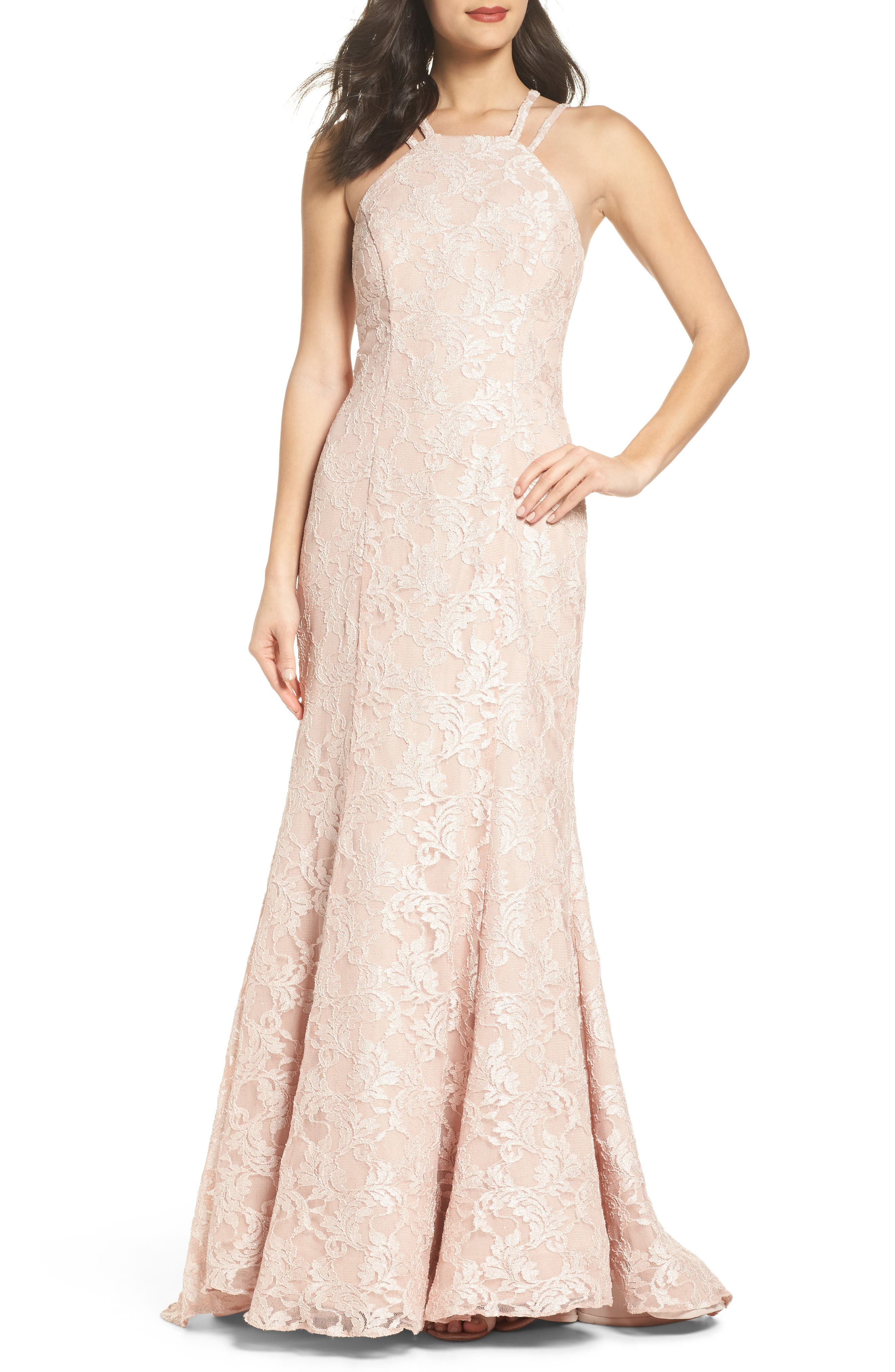 Strappy Lace Mermaid Gown,                             Main thumbnail 1, color,                             Blush / Nude