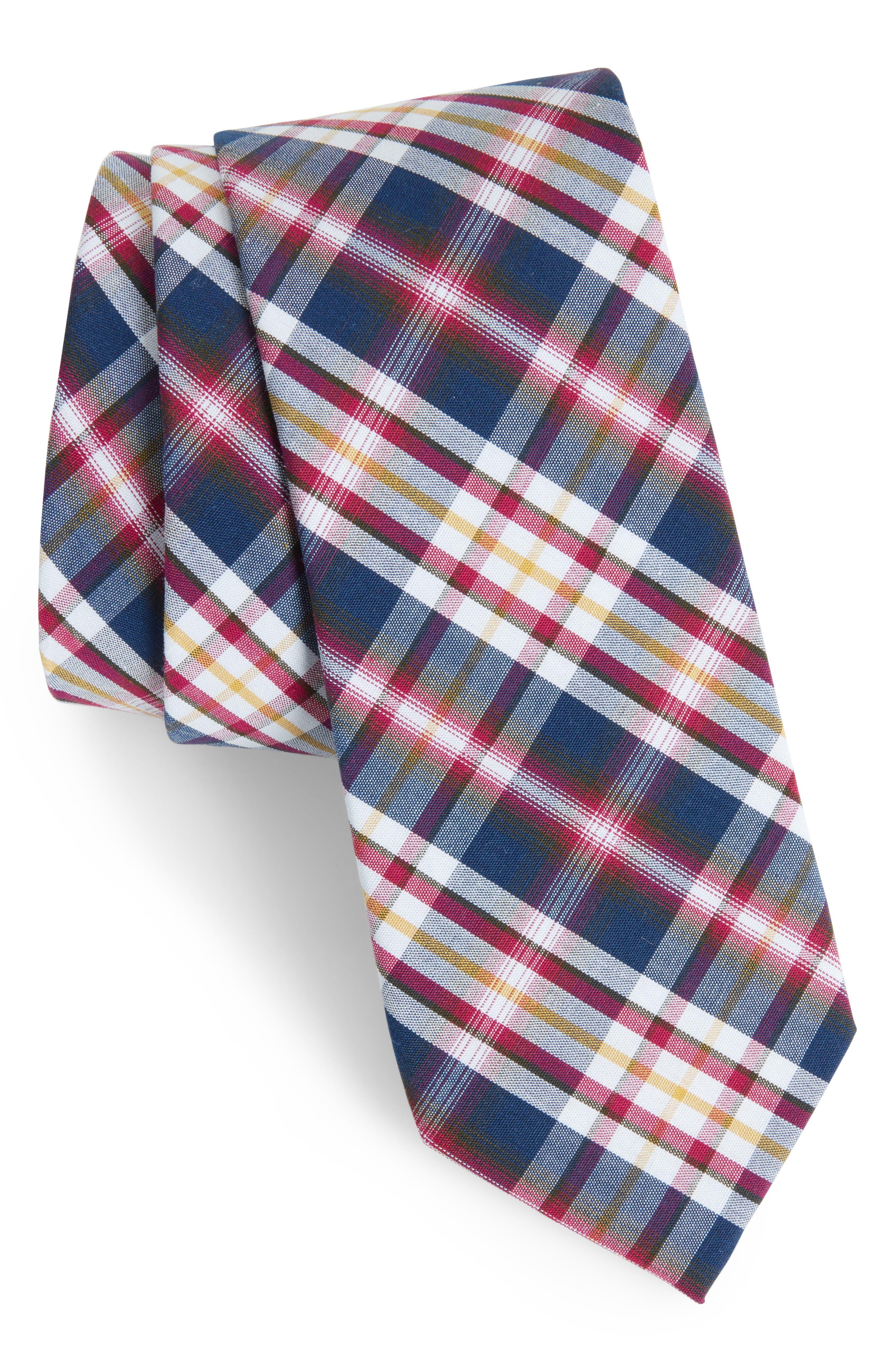 Bridgers Plaid Tie,                         Main,                         color, Berry