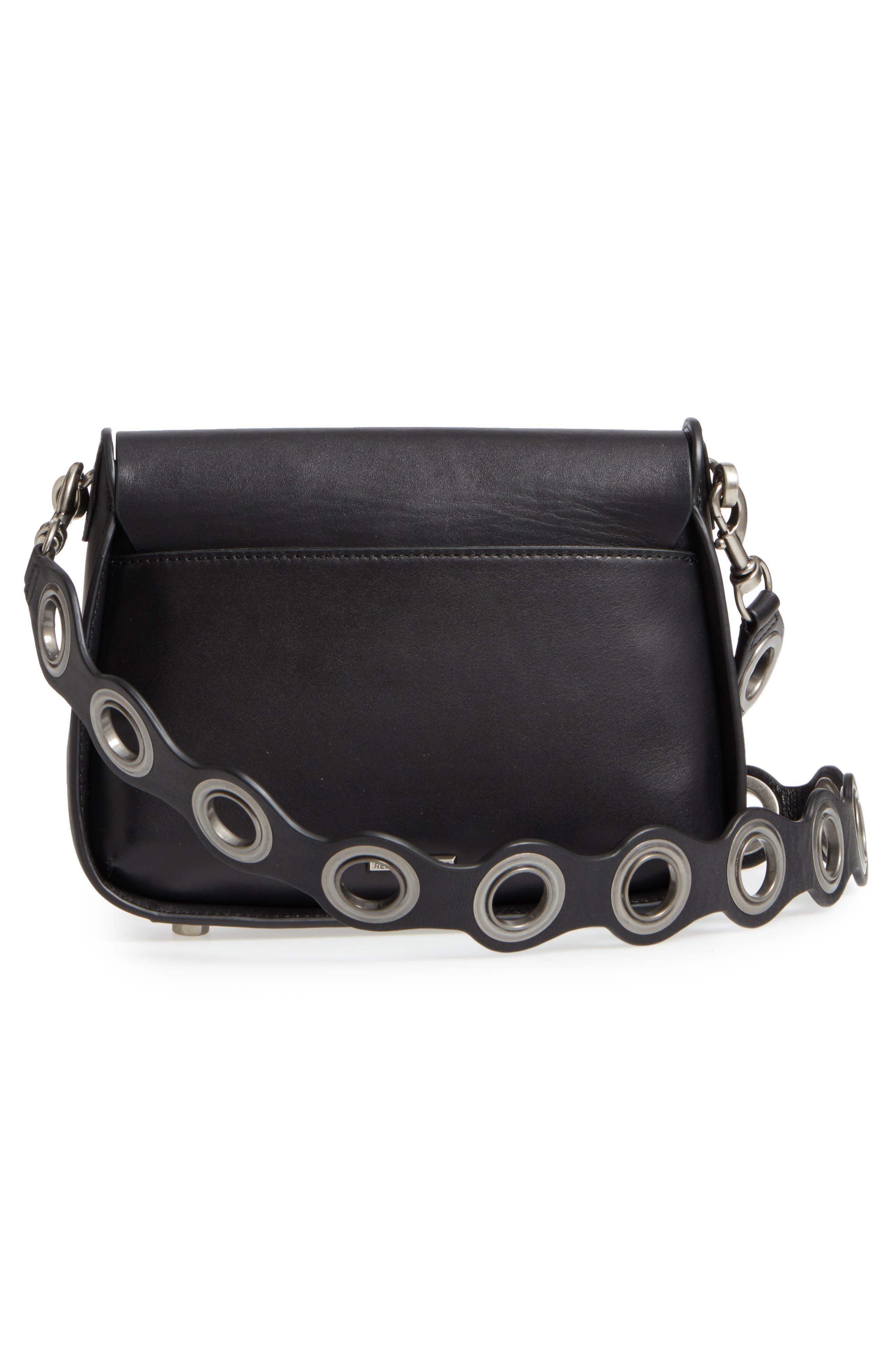 Ring Leather Shoulder Bag,                             Alternate thumbnail 3, color,                             Black