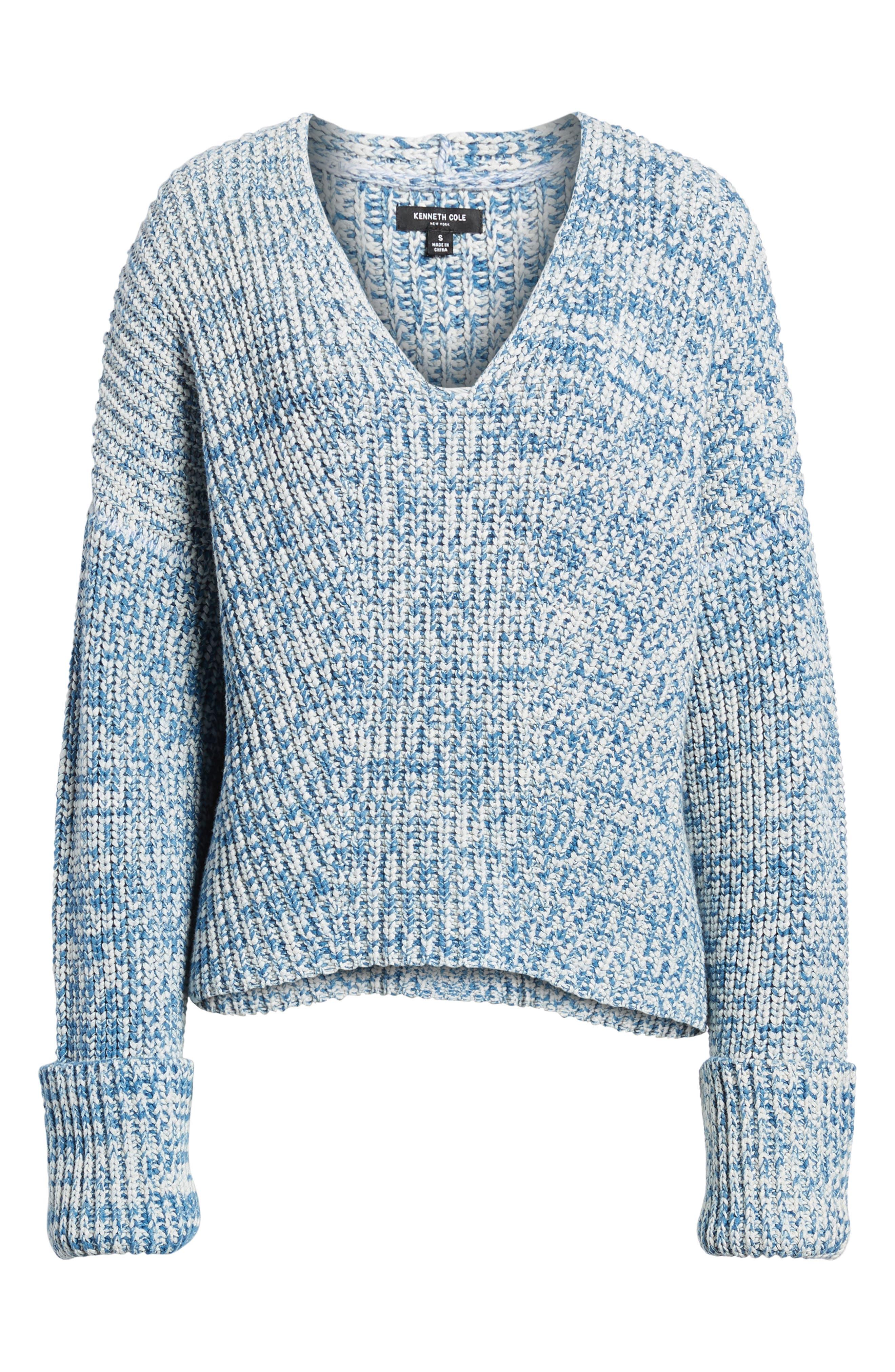 Knit V-Neck Sweater,                             Alternate thumbnail 6, color,                             Denim Marl