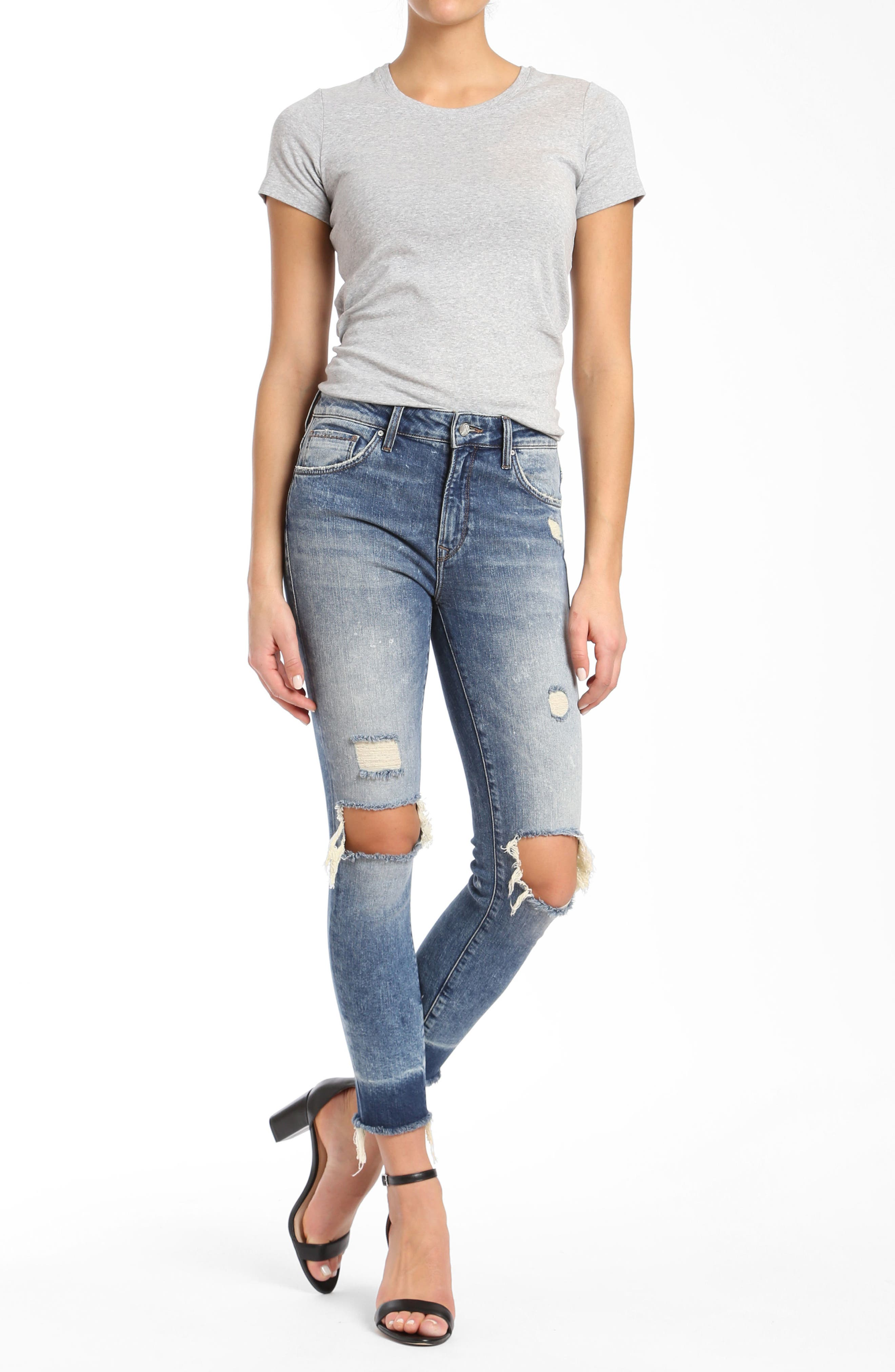 Tess Super Skinny Jeans,                             Alternate thumbnail 4, color,                             Ripped Vintage