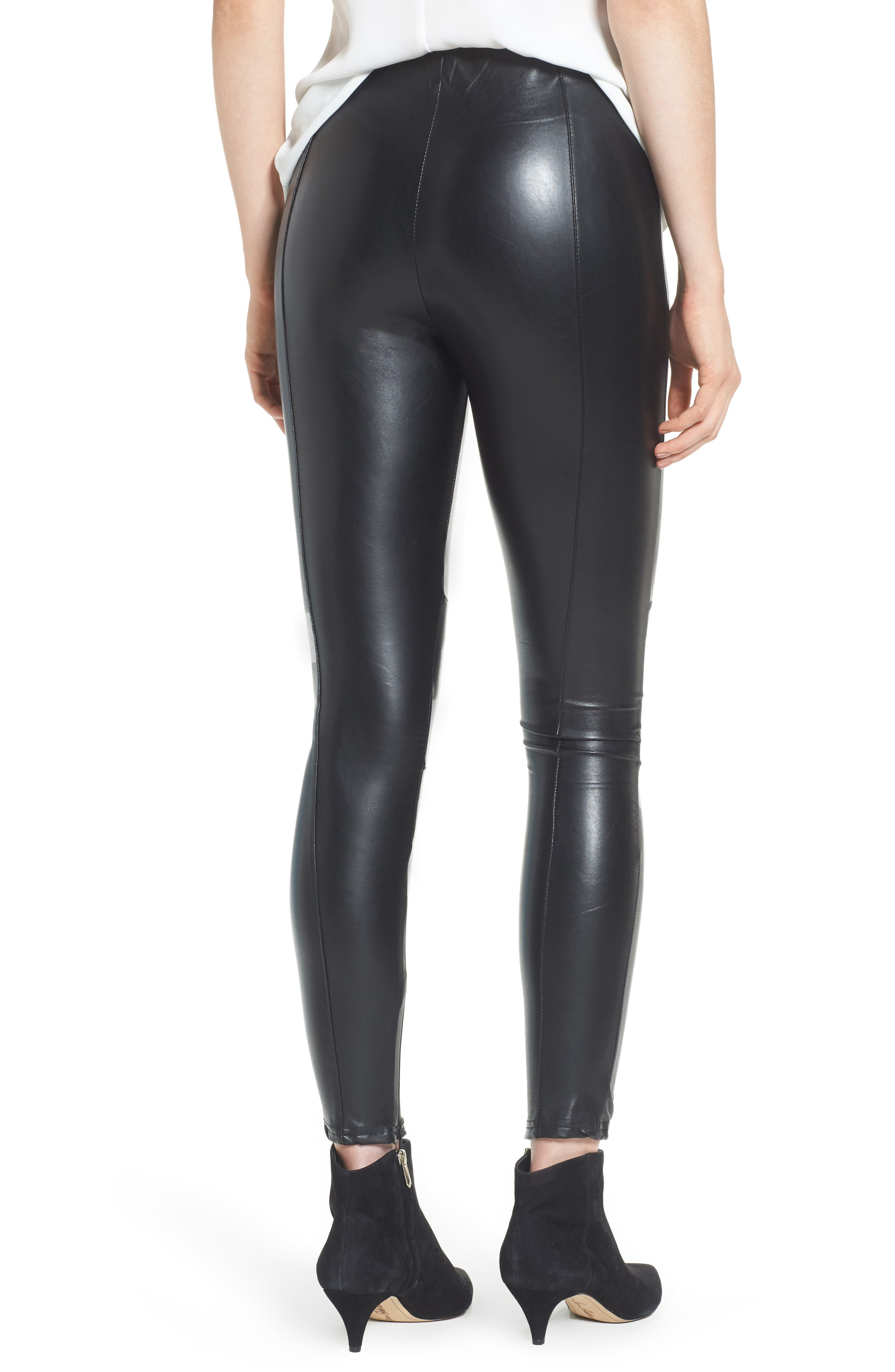 Bishop + Young Faux Leather Ankle Leggings,                             Alternate thumbnail 2, color,                             Black