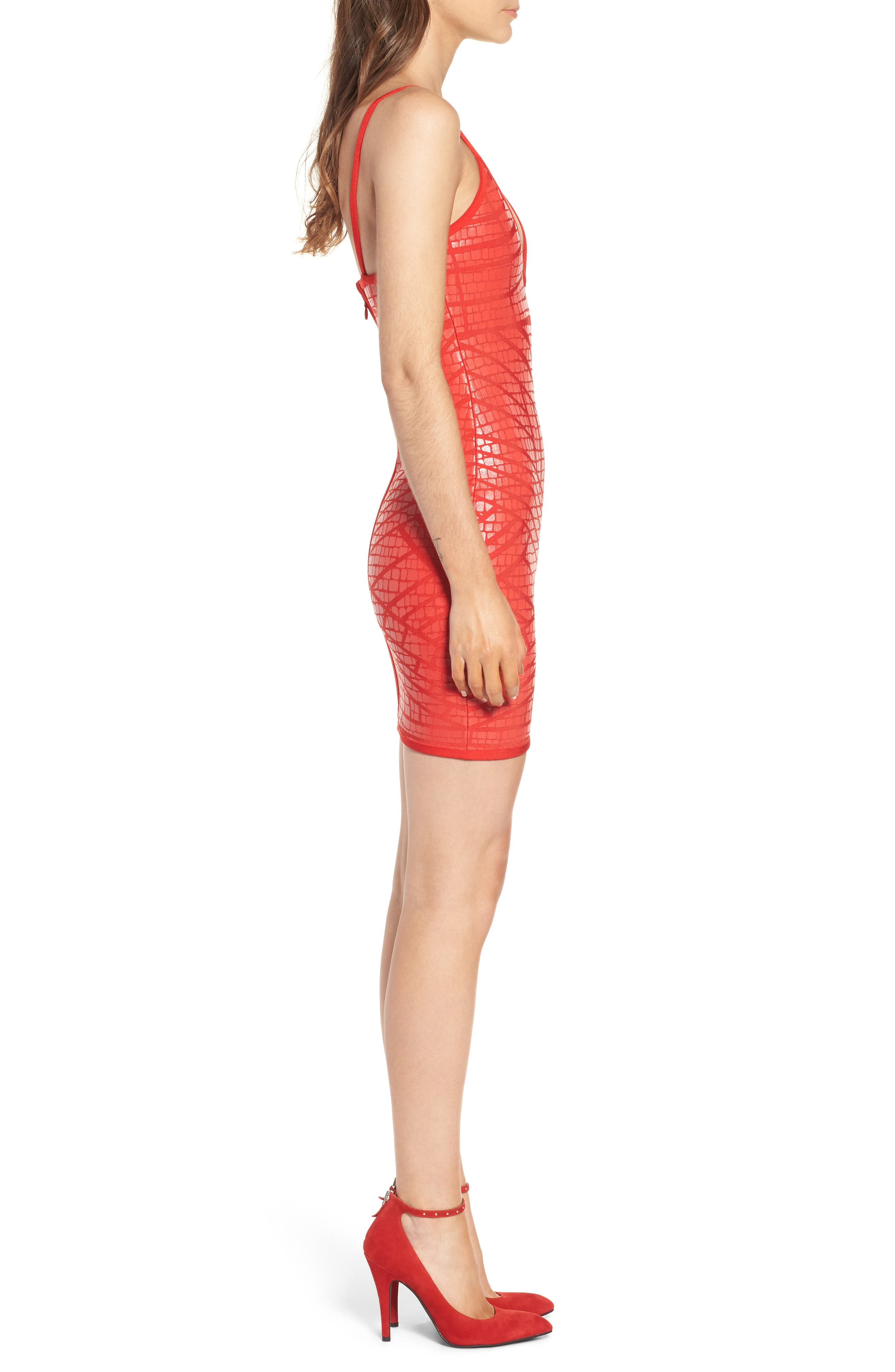 Bandage Body-Con Dress,                             Alternate thumbnail 3, color,                             Red