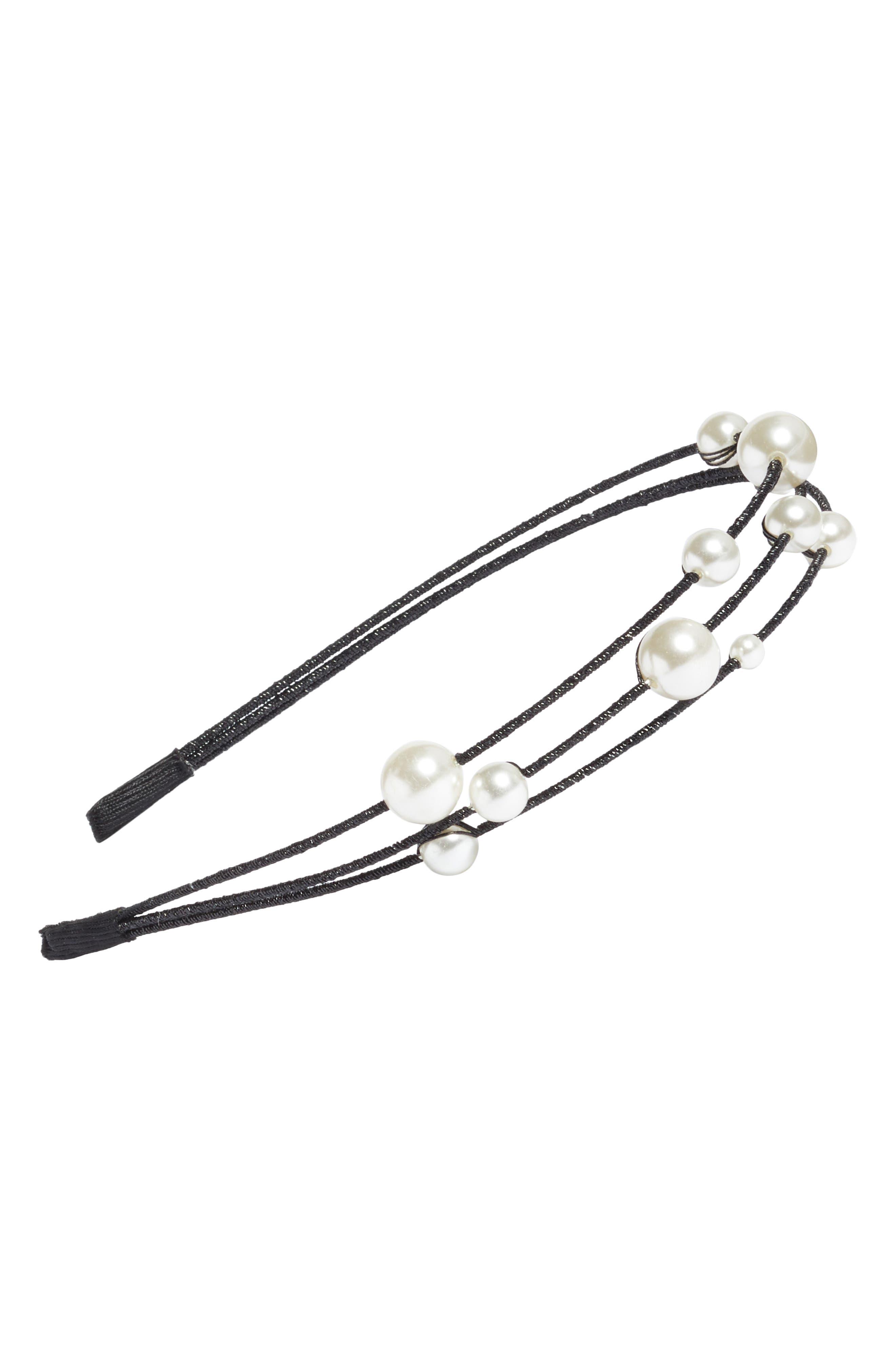 Imitation Pearl Headband,                         Main,                         color, Black