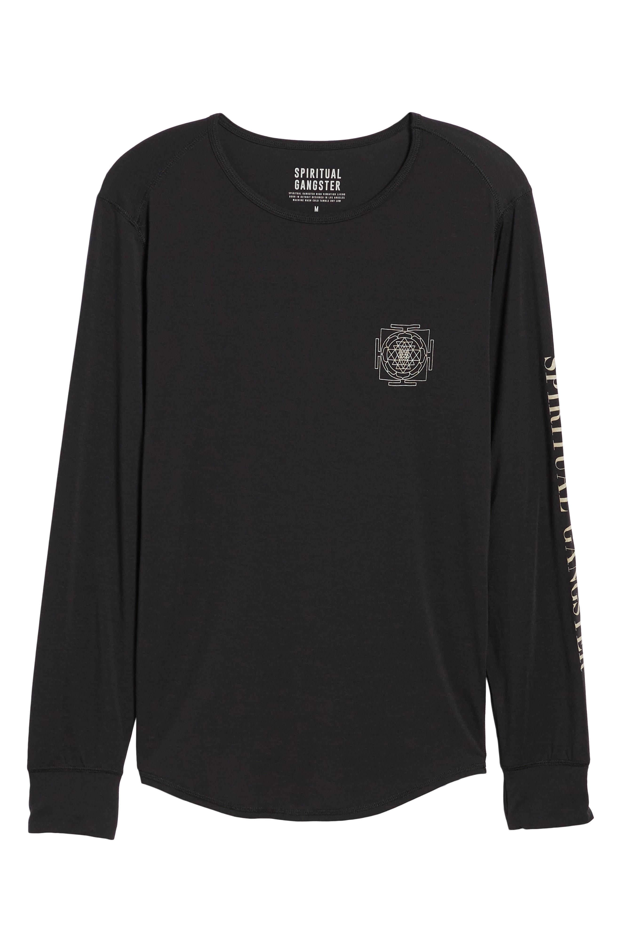 Yantra Wave T-Shirt,                             Alternate thumbnail 6, color,                             Black/ Black