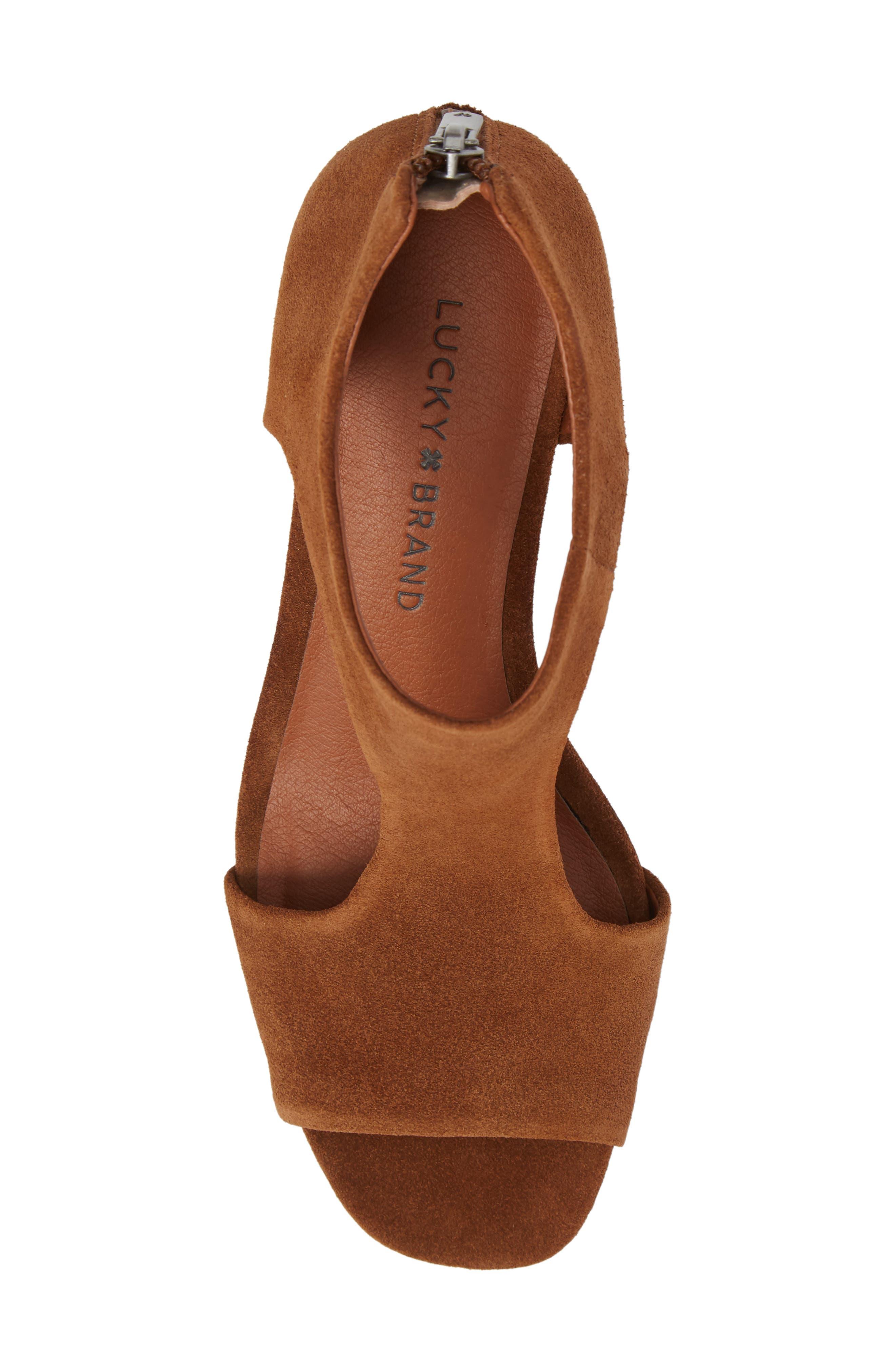 Tehirr Wedge Sandal,                             Alternate thumbnail 5, color,                             Cedar Suede