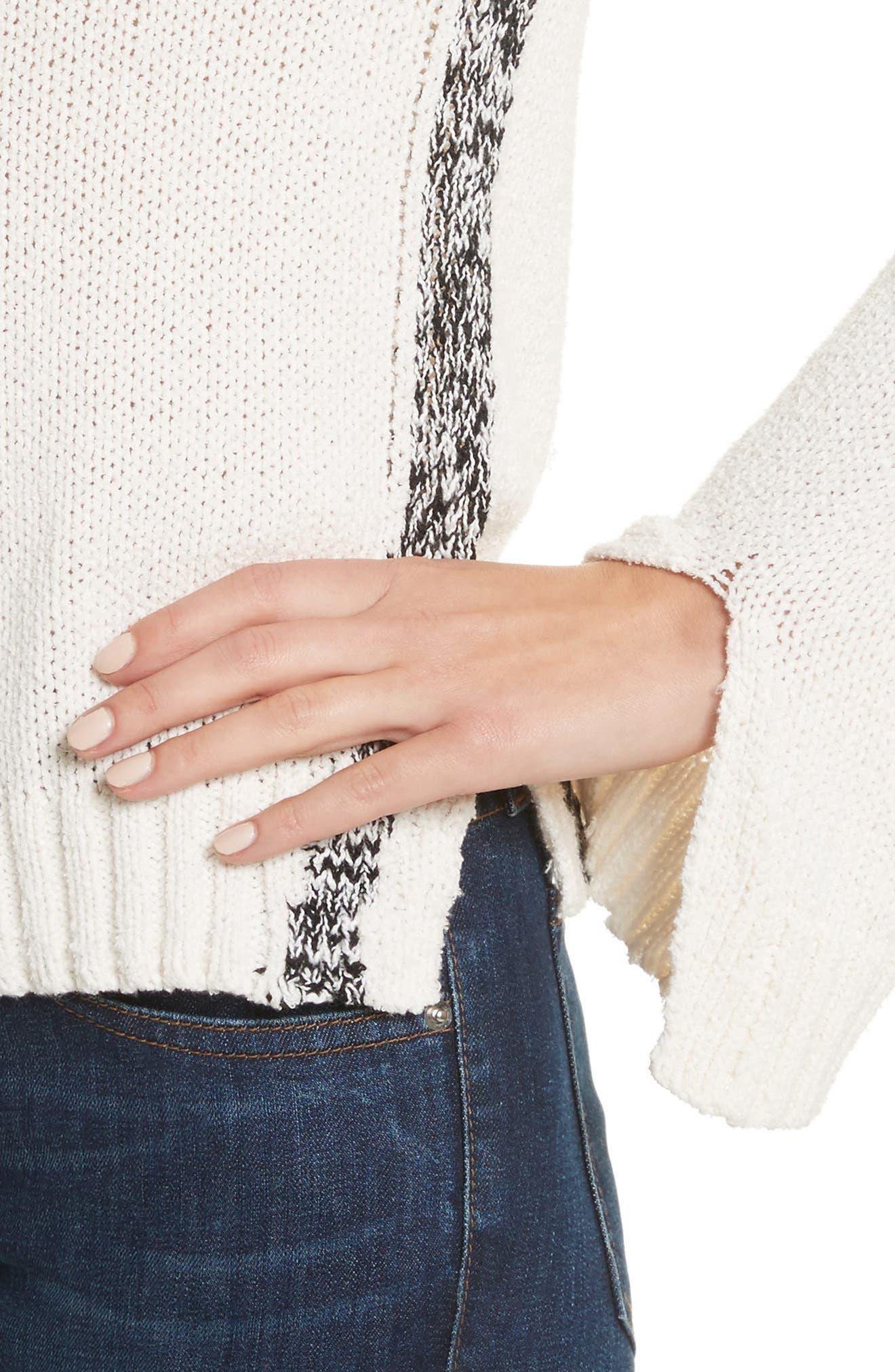 V-Neck Stripe Pullover,                             Alternate thumbnail 4, color,                             Soft White