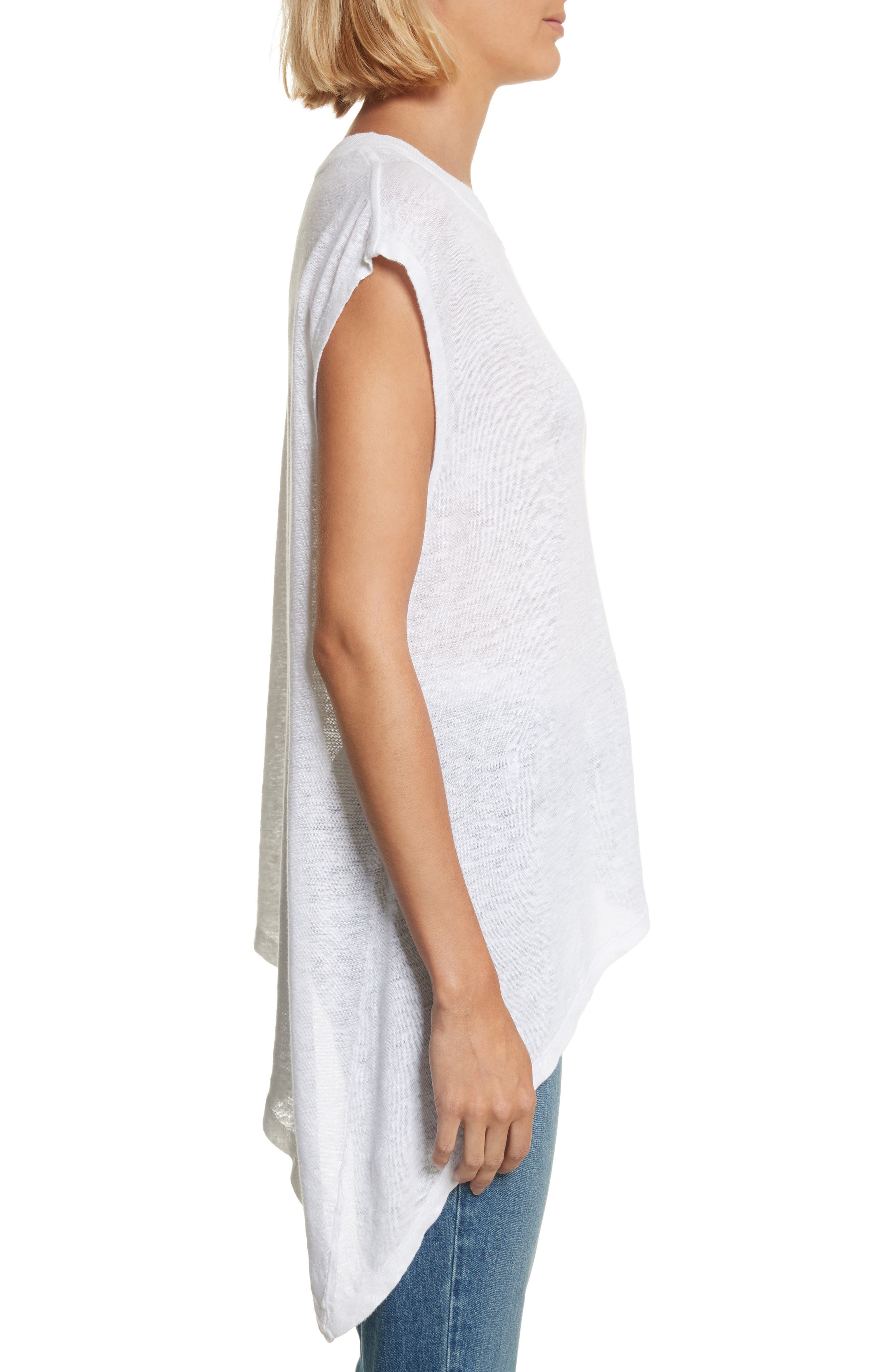 Karami Linen Asymmetrical Lace-Up Top,                             Alternate thumbnail 3, color,                             White