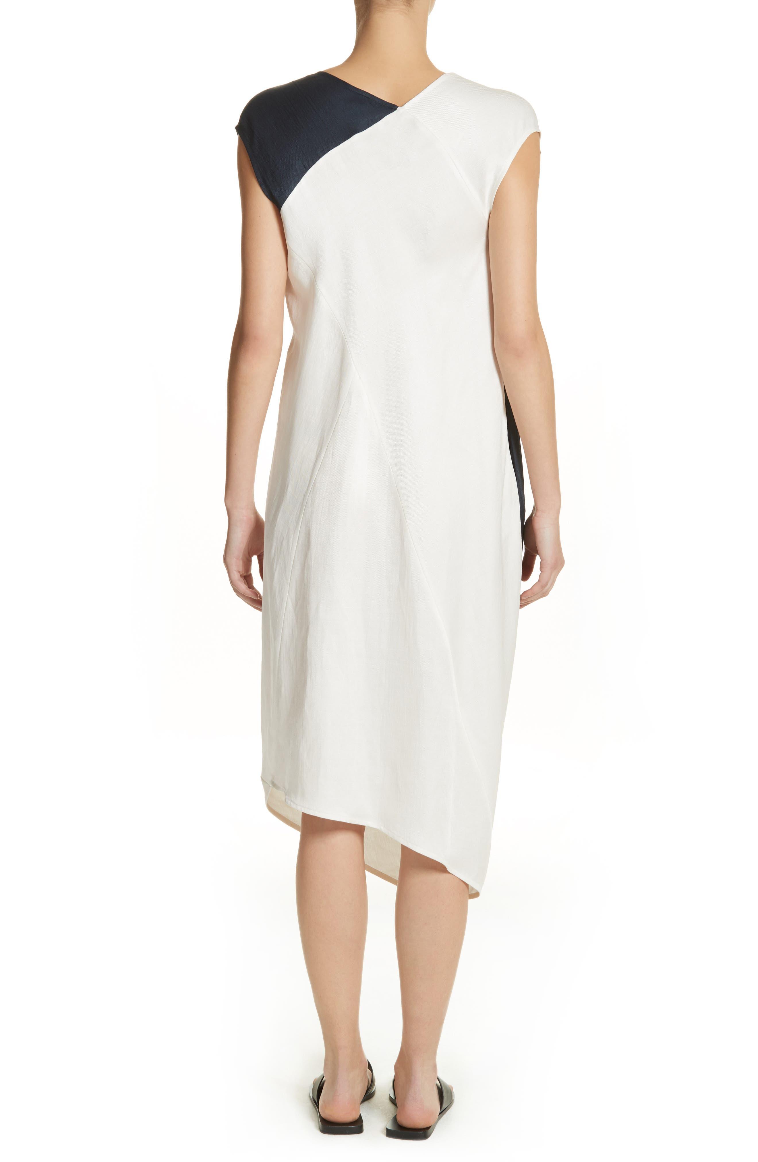 Colorblock Drape Dress,                             Alternate thumbnail 2, color,                             Ink/ White Pepper
