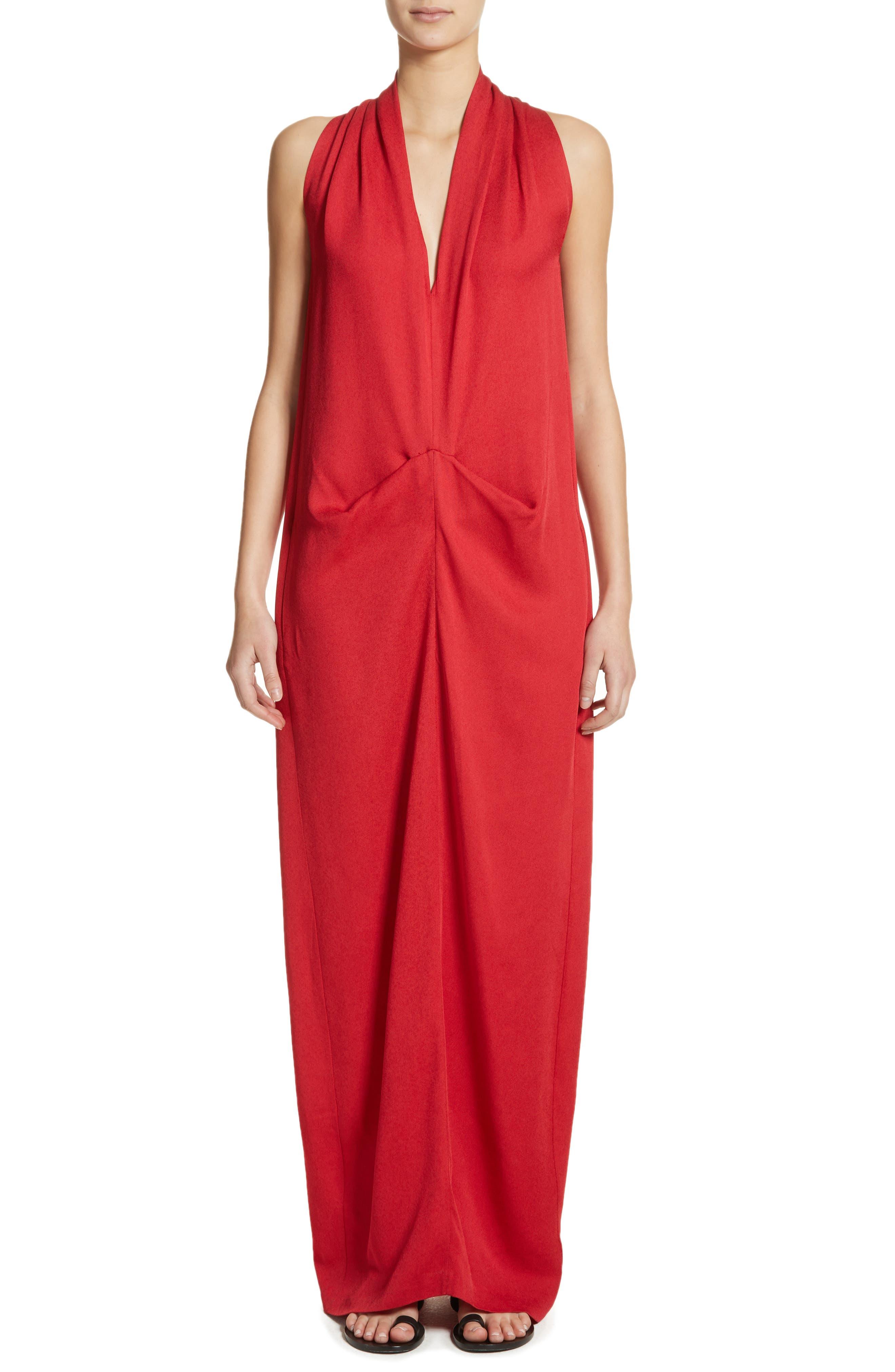 Eco Gathered Maxi Dress,                             Main thumbnail 1, color,                             Poppy