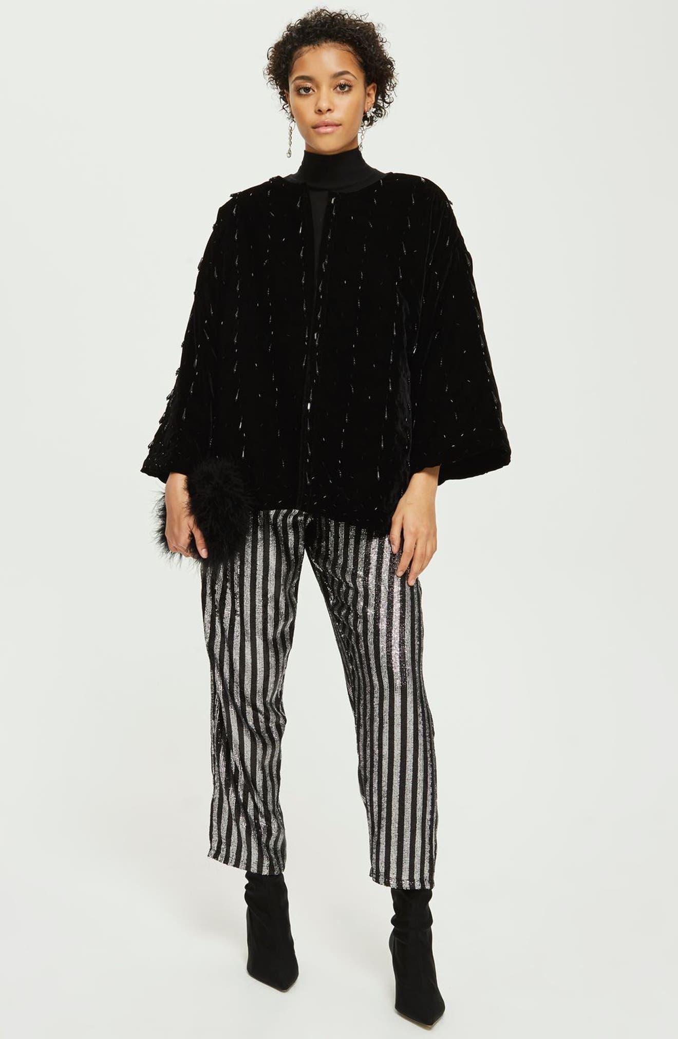 Noelle Beaded Velvet Kimono,                             Alternate thumbnail 2, color,                             Black