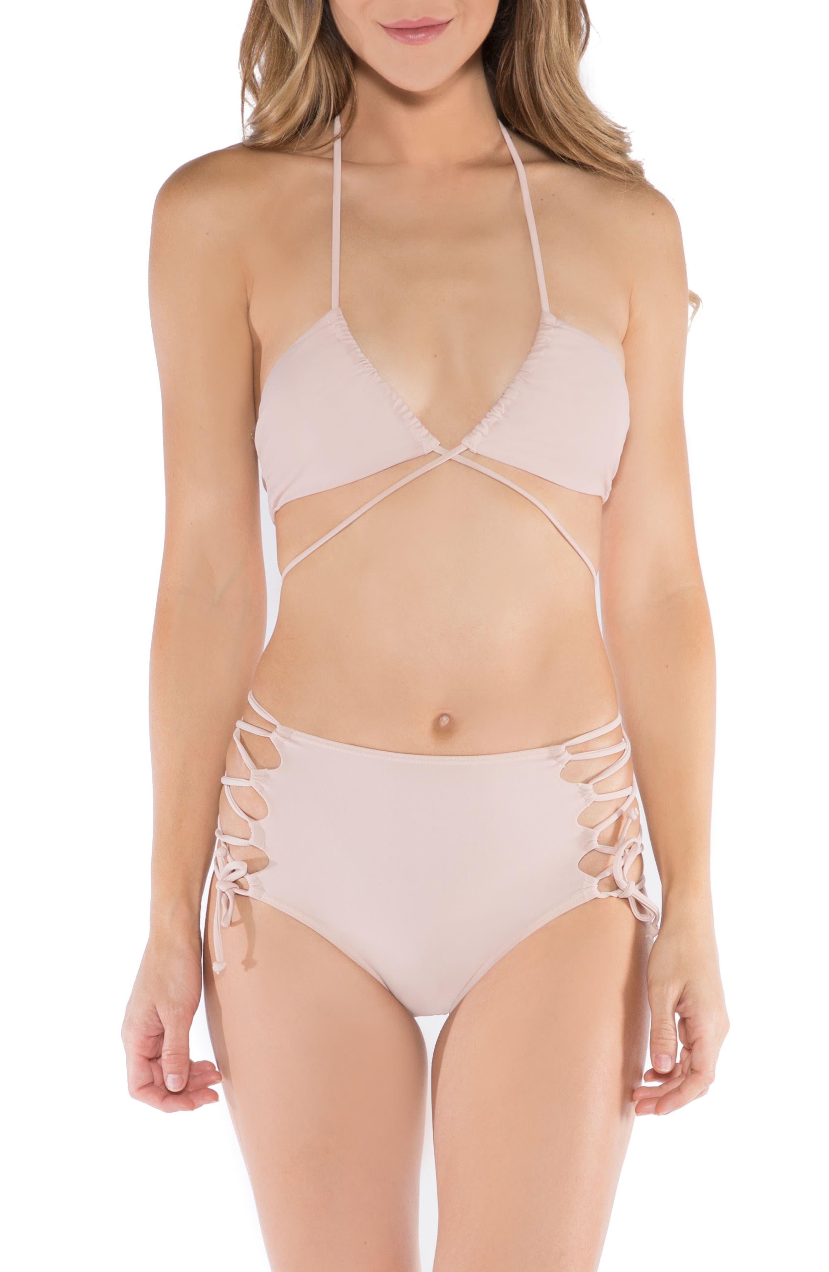 Aleja Wrap Bikini Top,                             Alternate thumbnail 4, color,                             Rose Dust